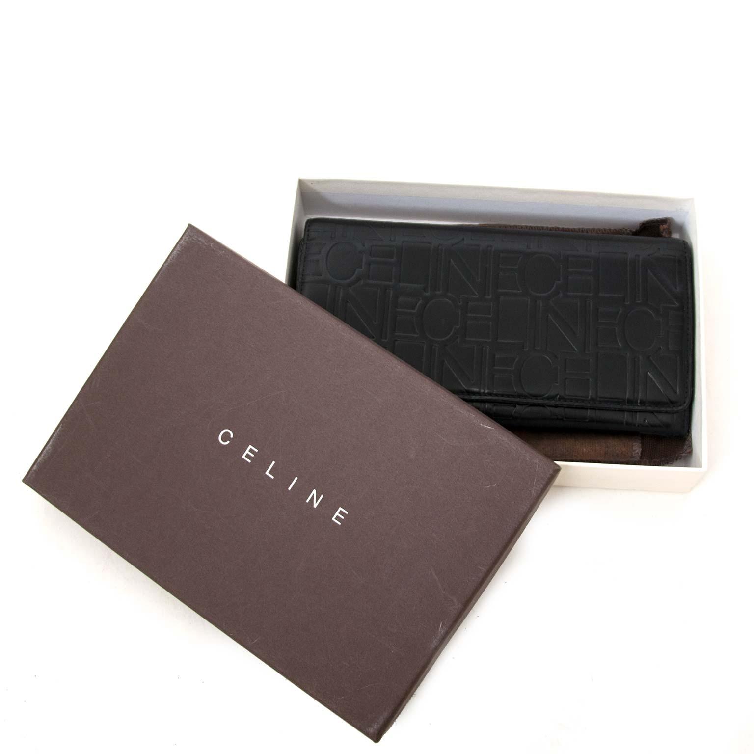 Céline Black Embossed Leather Wallet for sale