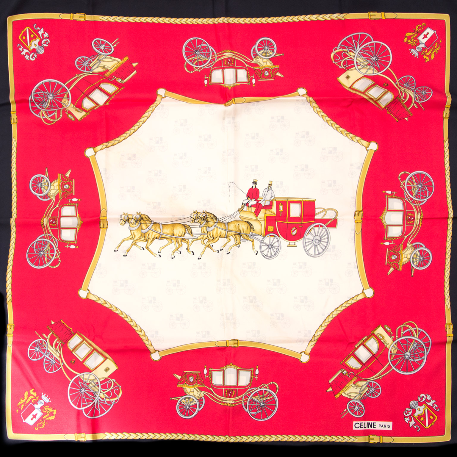buy and sell your celine paris horse and carriage silk scarf now online at labellov.com