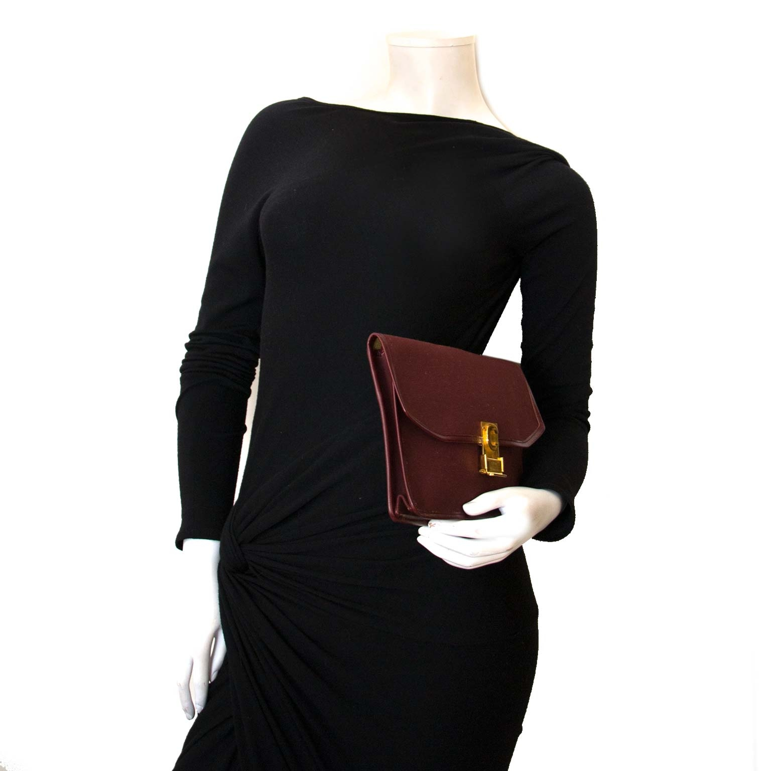 céline bordeaux fabric clutch now for sale at labellov vintage fashion webshop belgium