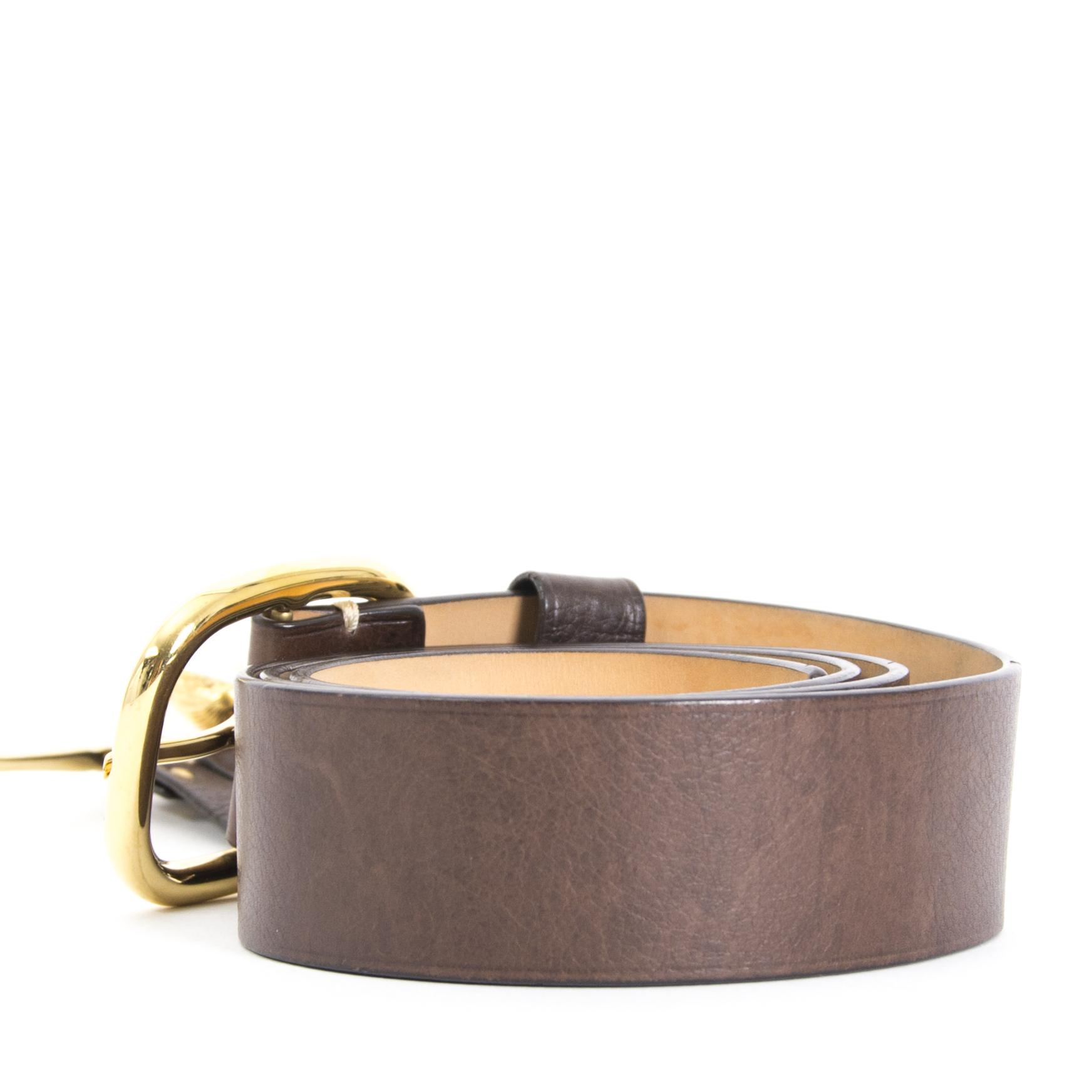 koop nu veilig online jouw tweedehands Céline Brown Leather Belt - size S op labellov.com