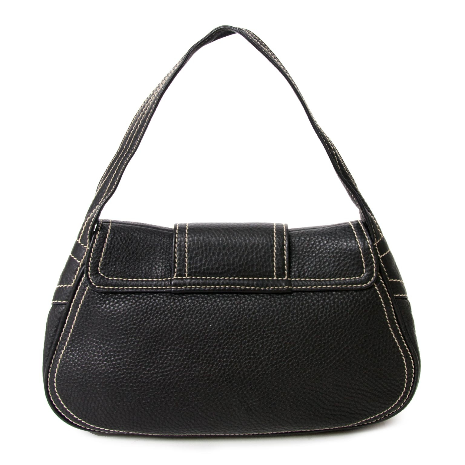 87de0c68a3 ... koop Céline Black Stiched Leather Buckle Shoulder Bag en betaal veilig  online