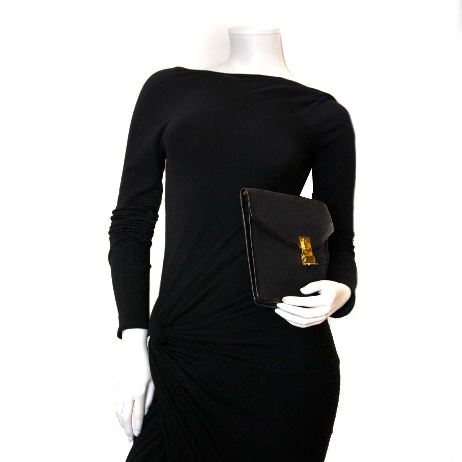 céline paris black monogram clutch now for sale at labellov vintage fashion webshop belgium