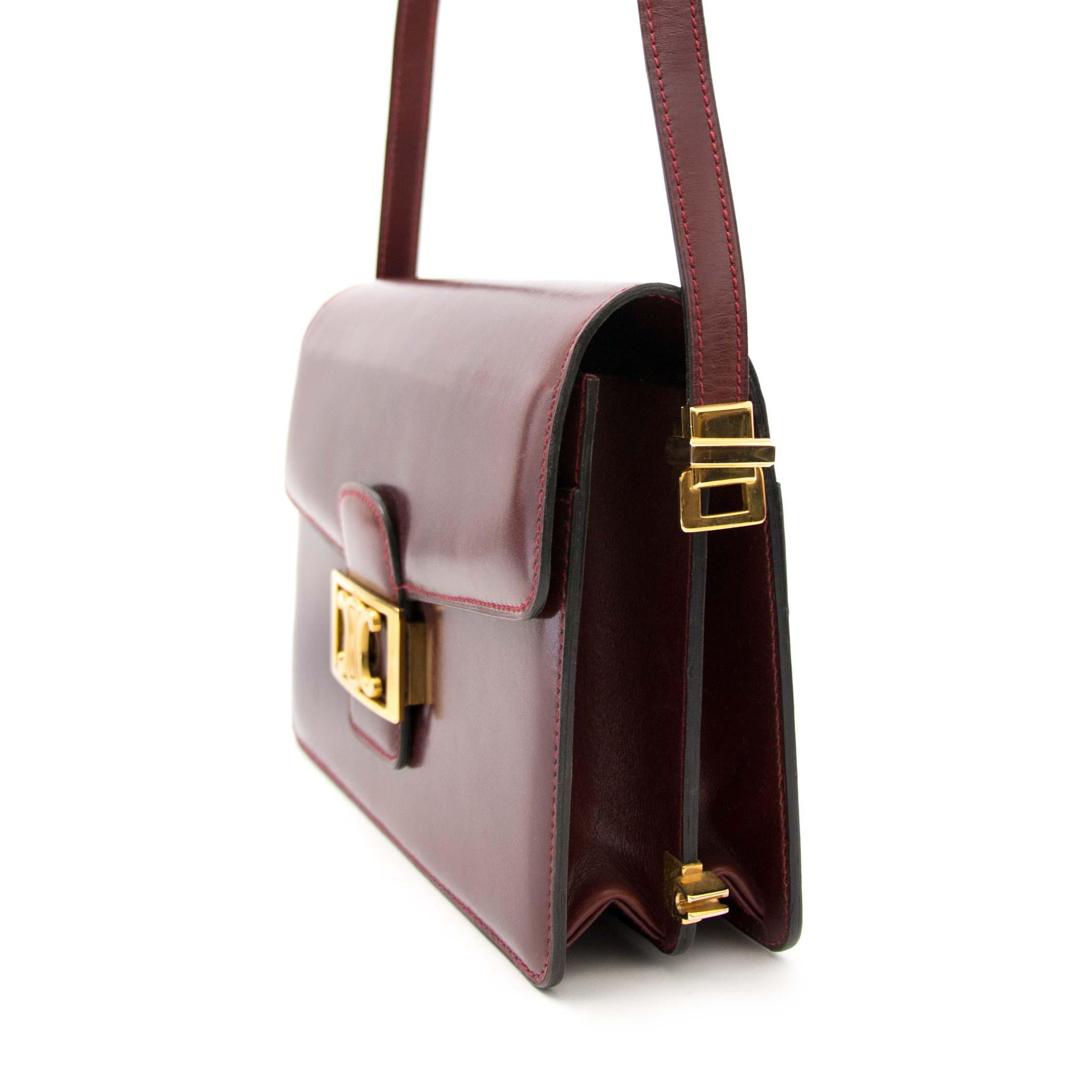 Céline Burgundy Crossbody Bag for sale in Labellov, Antwerp. Vintage designer items for sale.