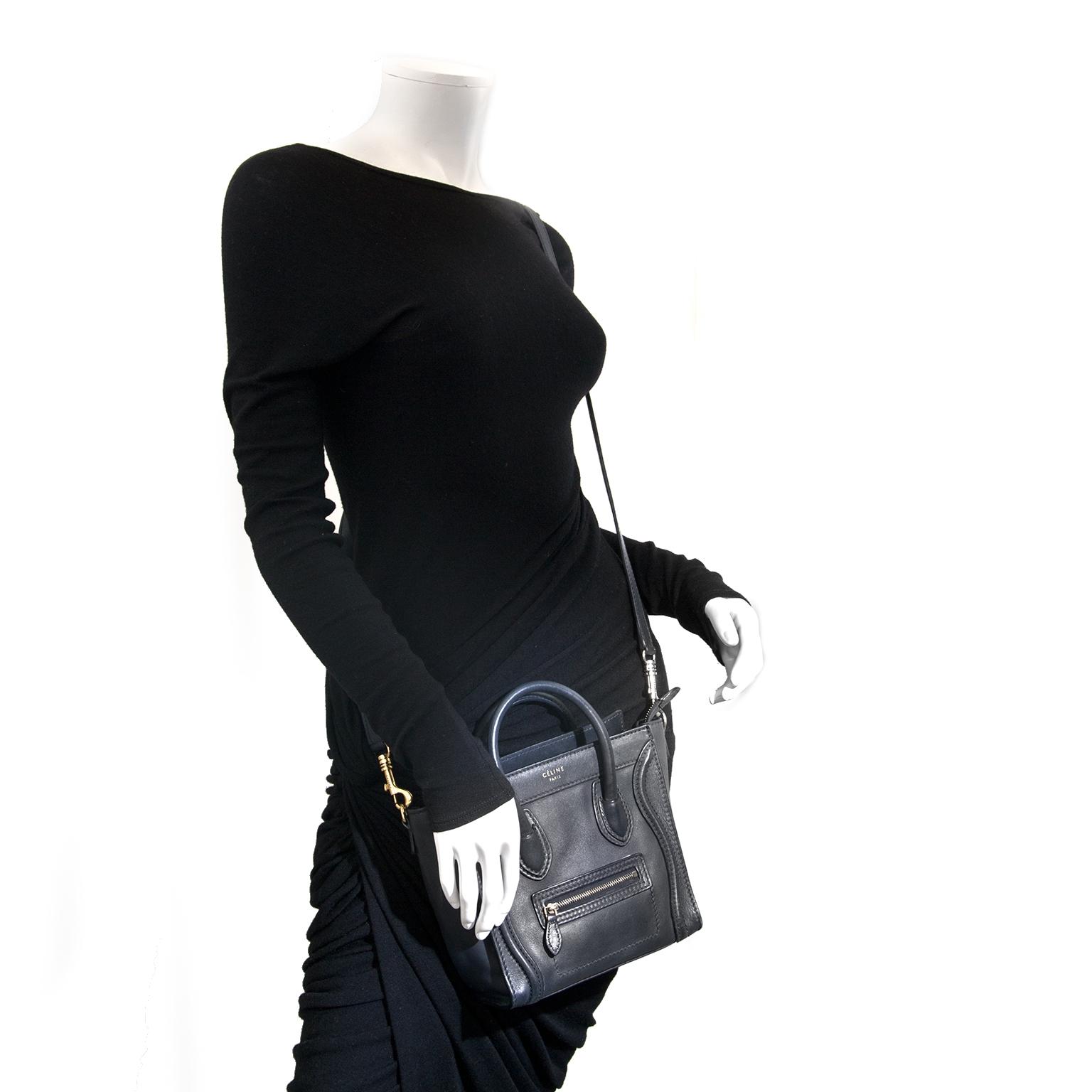 7d03ef22bd ... Céline Dark Blue Nano Luggage Shoulder Bag now for sale at labellov  vintage fashion webshop belgium