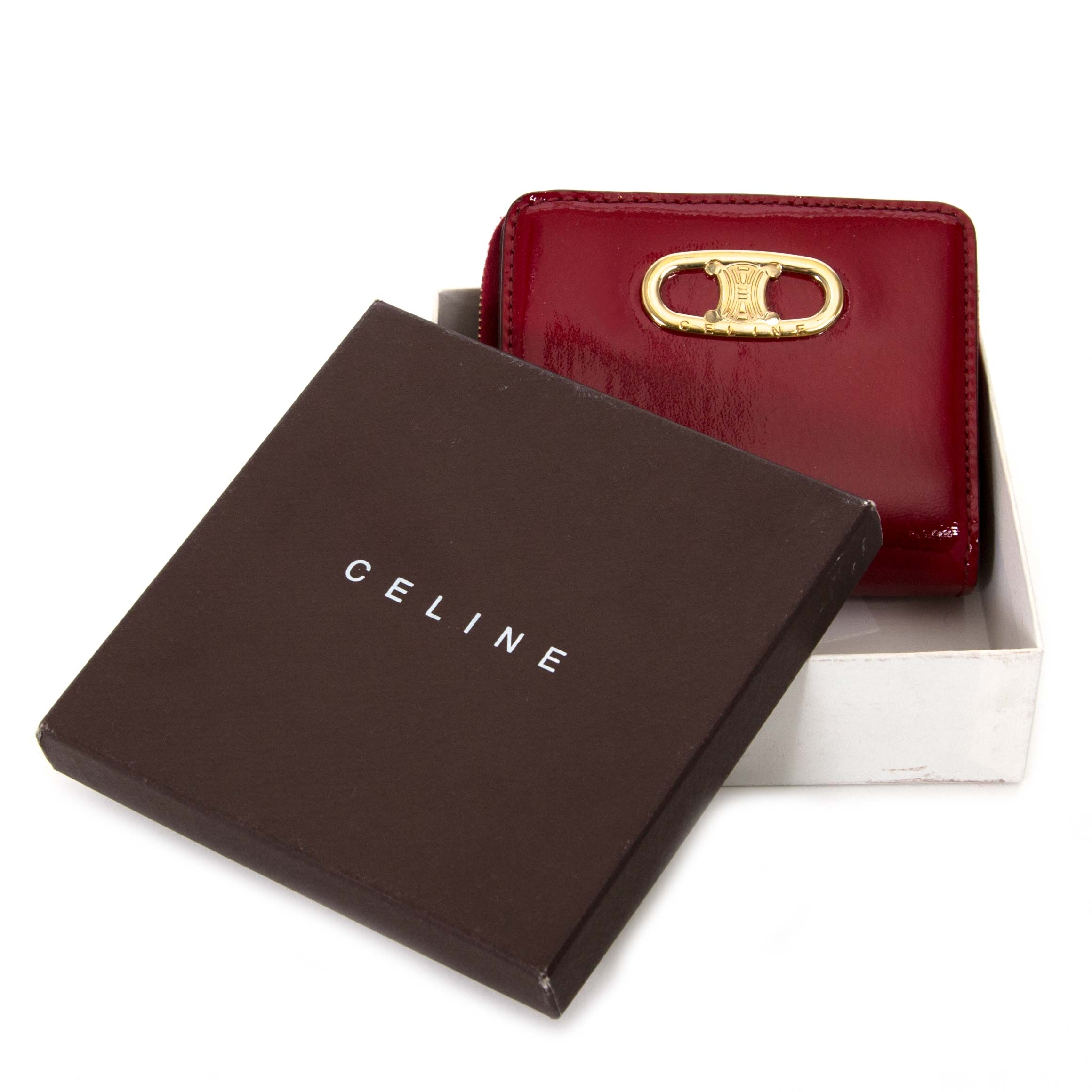 céline ruby patent leather zipped multifunction wallet now for sale at labellov vintage fashion webshop belgium