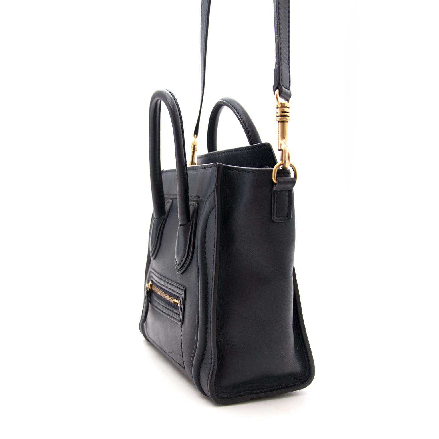 Buy an authentic Céline Blue Nano Luggage Shoulder Bag online