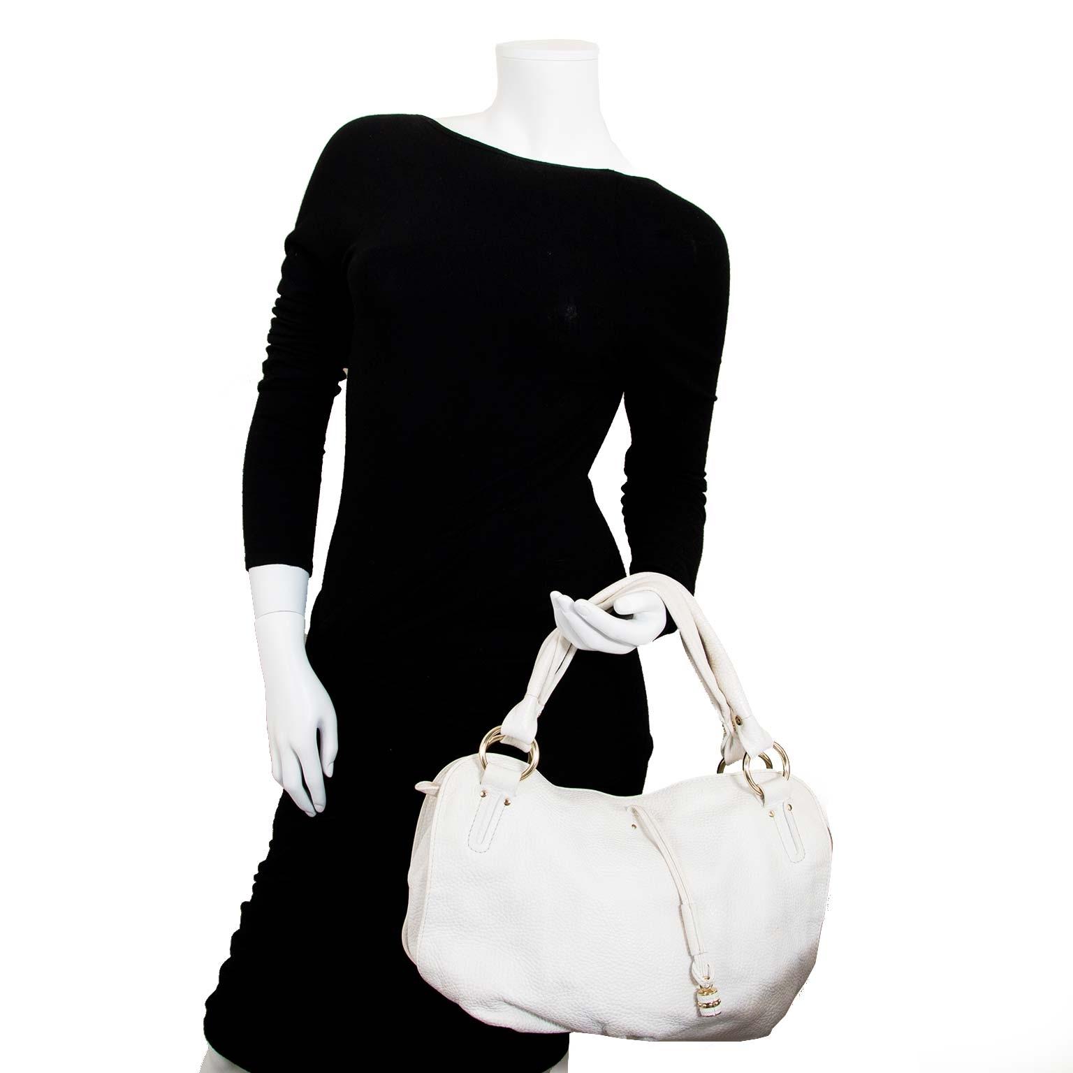 veilig en online tweedehands tassen shoppen bij labellov.com Celine White Bittersweet Hobo Bag nu te koop