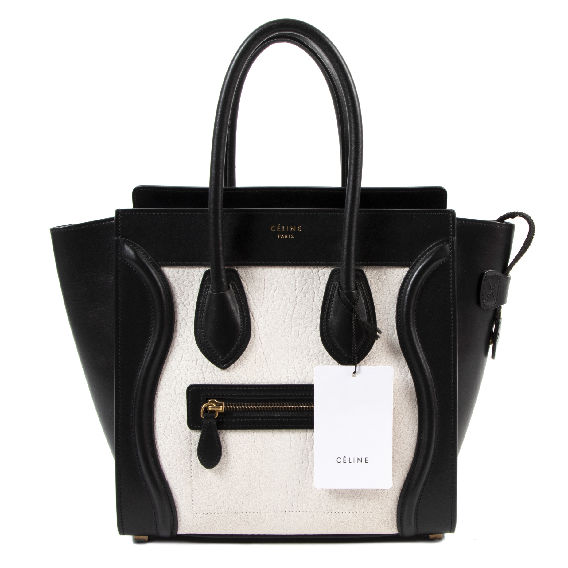 shop Celine Micro Black & White Luggage Handbag