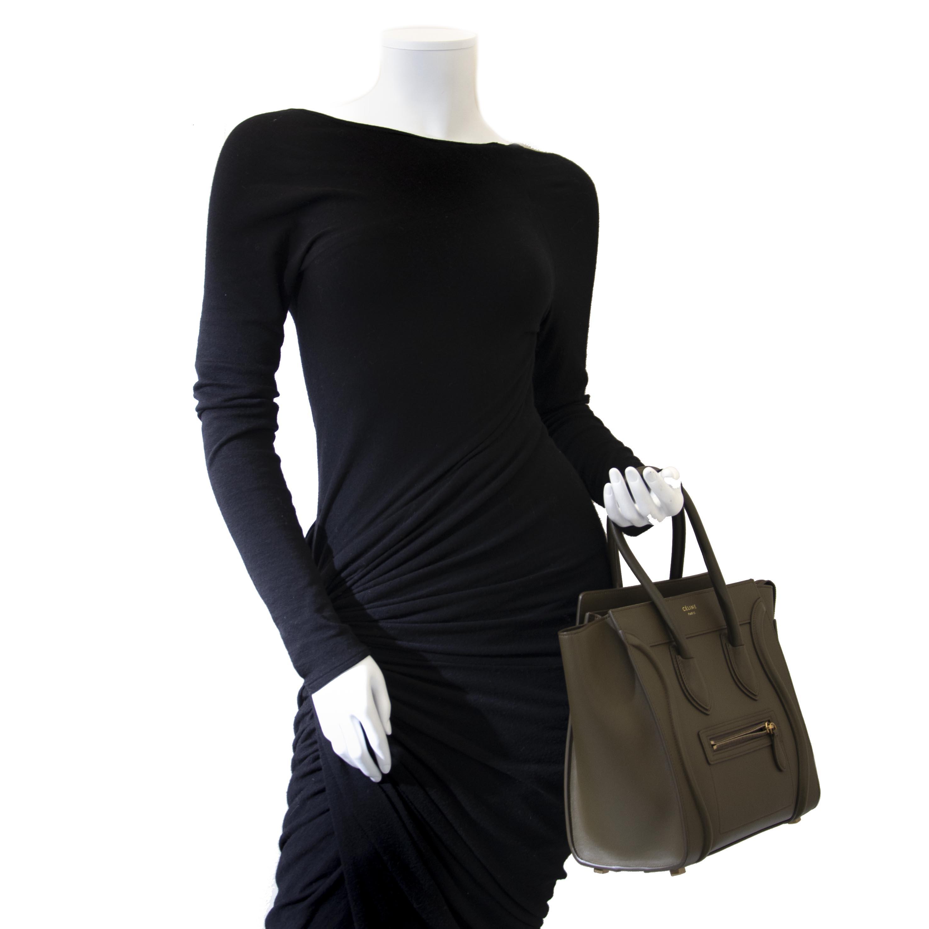 Celine Khaki Luggage Micro Shopper Tote pour le meilleur prix chez Labellov à Anvers Belgique