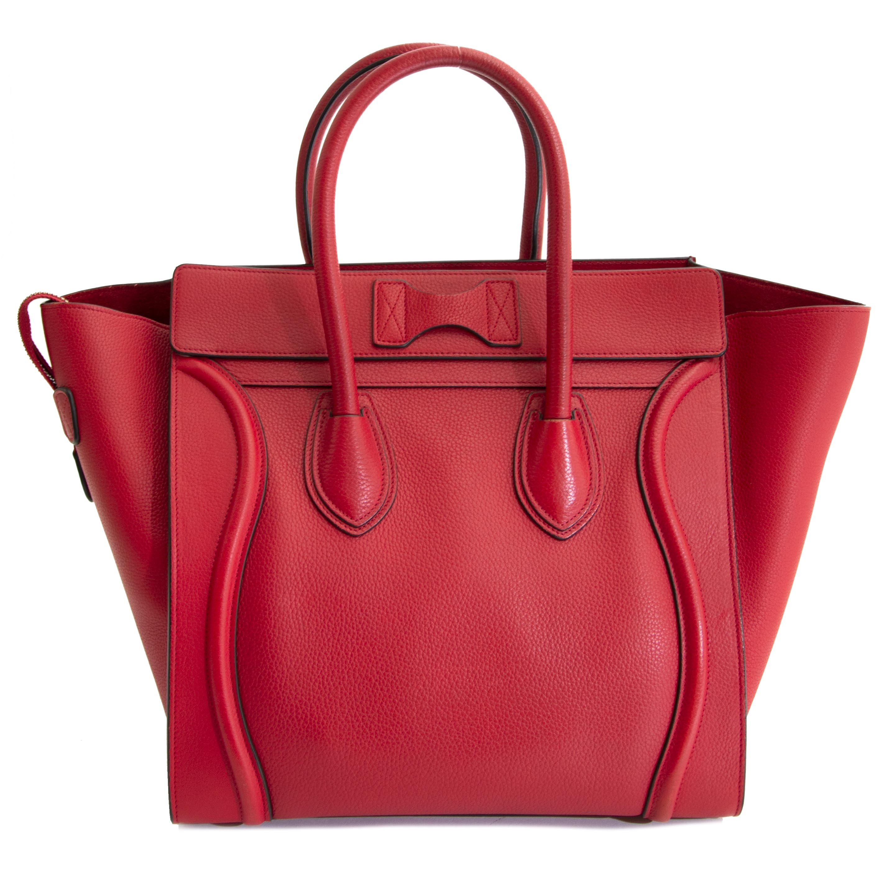 1ca5cdf53c authentic second hand vintage Céline Luggage Bag Red online webshop LabelLOV  Koop authentieke tweedehands Céline Luggage Bag Red online webshop LabelLOV