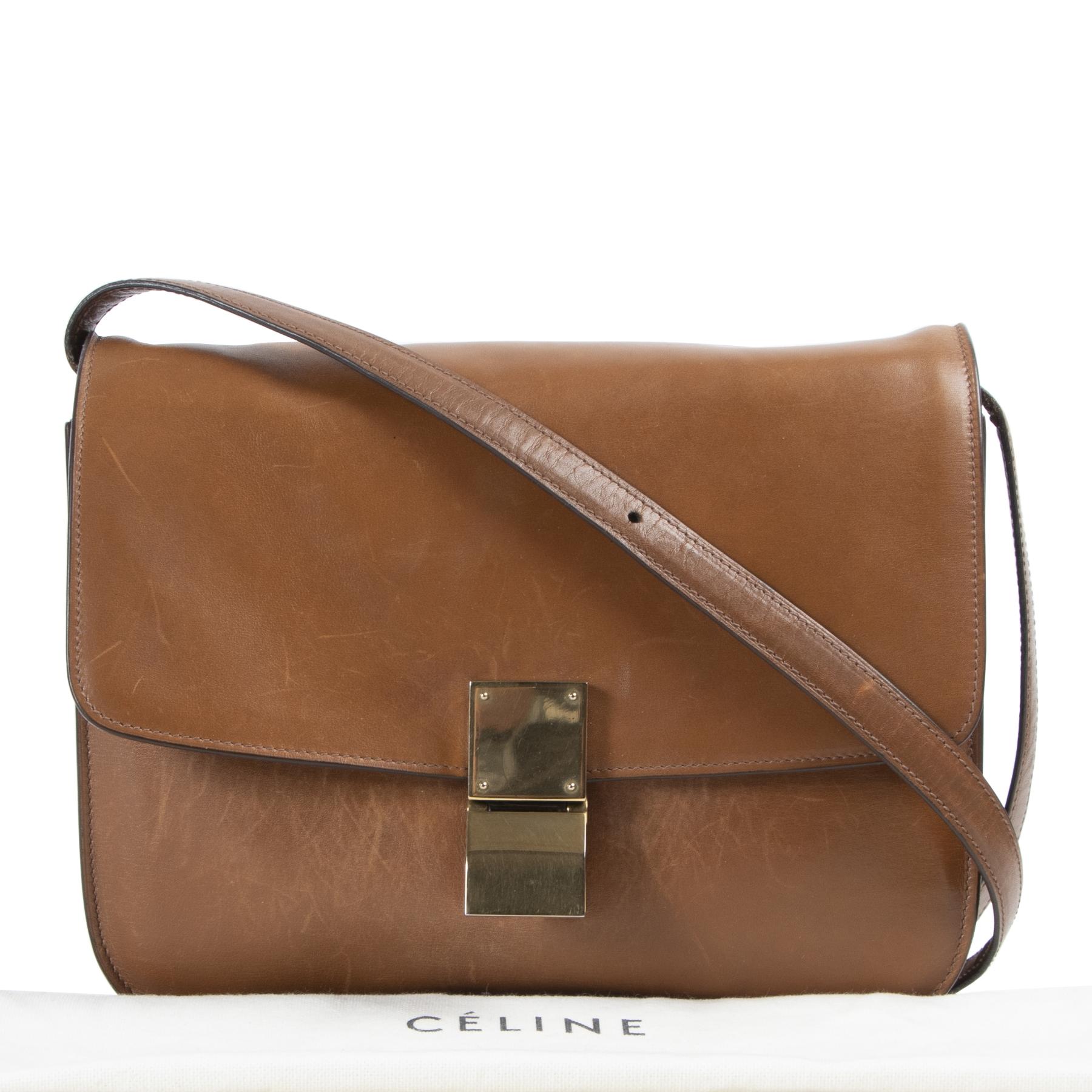 koop online tegen de beste prijs Céline Cognac Leather Box Bag