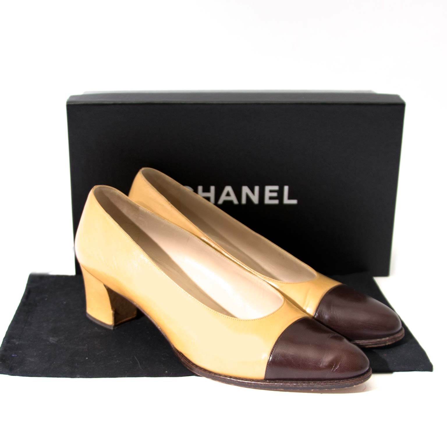 Chanel Classic Beige and Brown Block Heel Pumps - Size 38