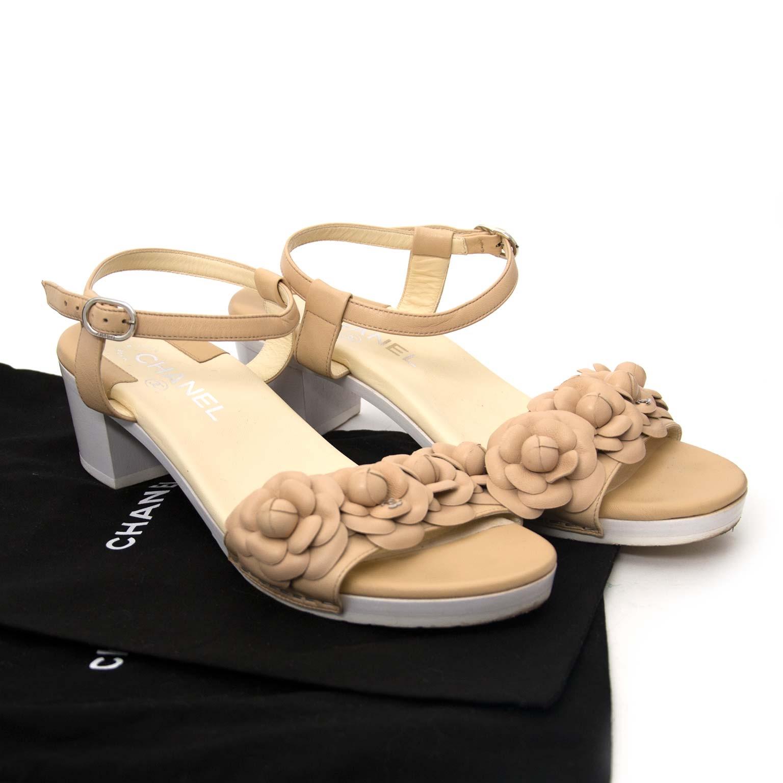 shop safe online Chanel Beige Leather Camellia Flower Sandals