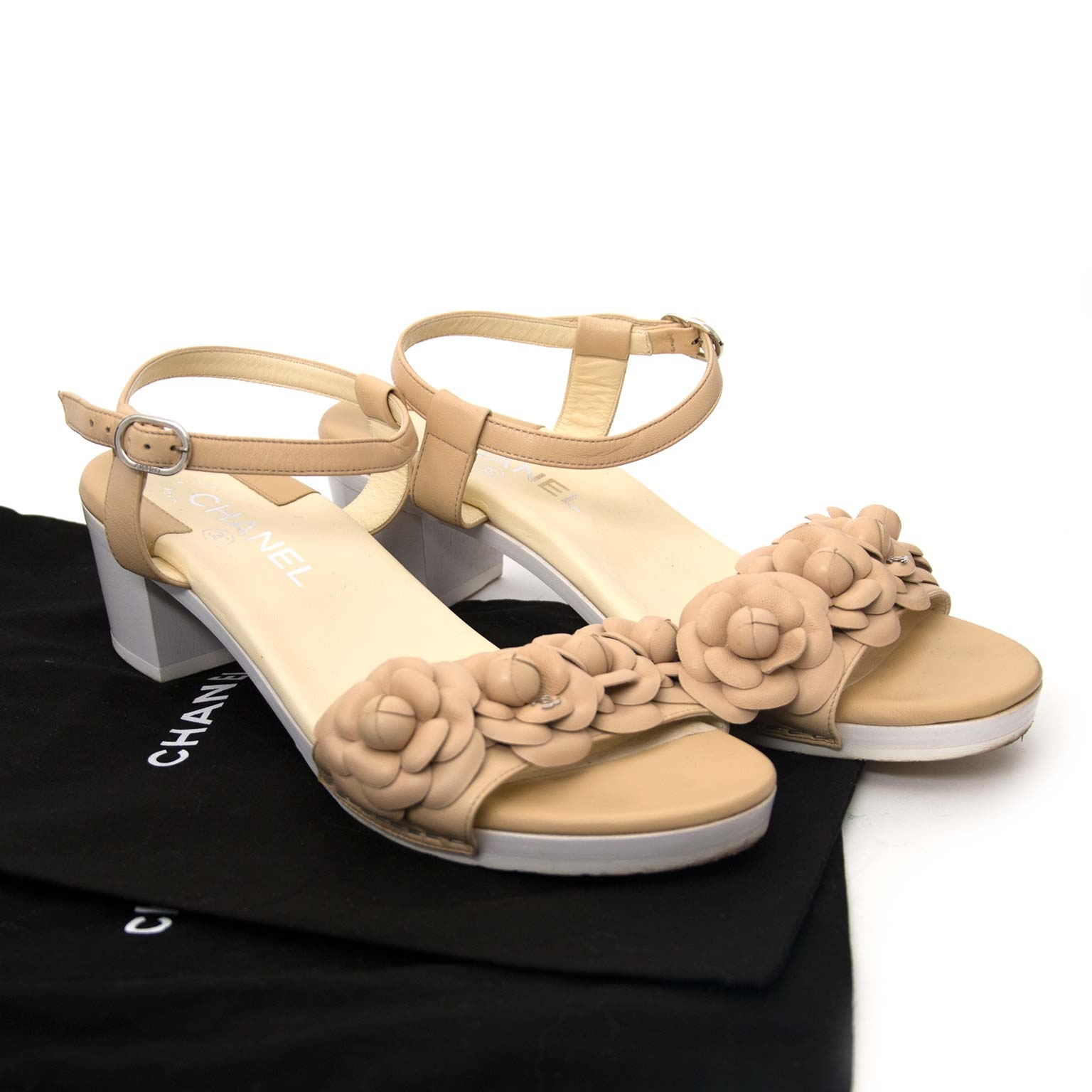 shop safe online Chanel Beige Leather Camellia Flower Sandals