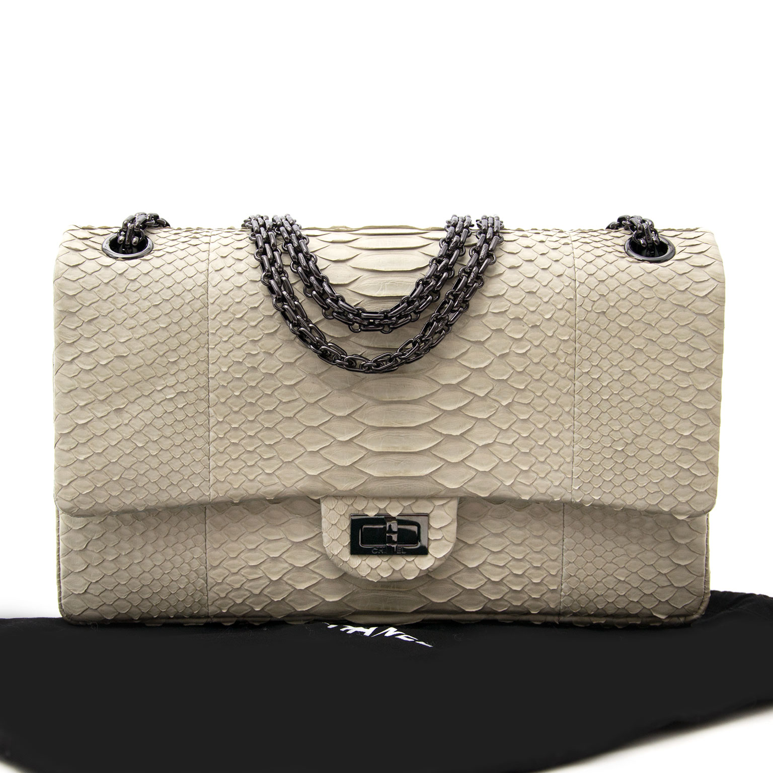 Buy a secondhand Chanel Beige Phyton 2.55 Jumbo Flap Bag at Labellov.com