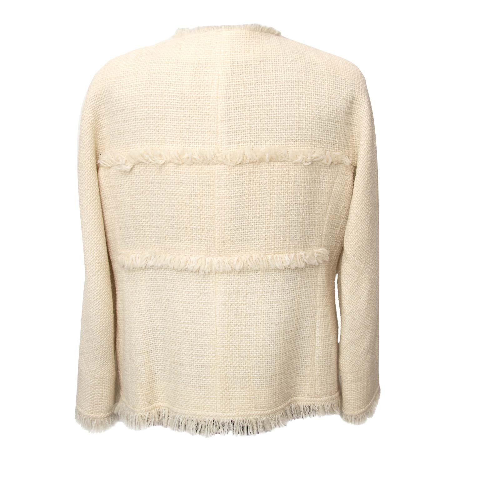 014a4da7704 ... Chanel Ecru Wool Blazer - Size 40 Buy authentic designer Chanel  secondhand clothes at Labellov at
