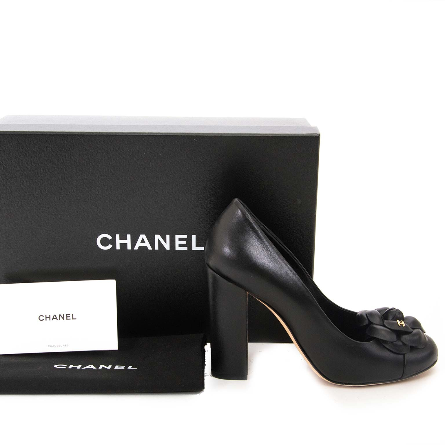 chanel black camelia heels now for sale at labellov vintage fashion webshop belgium