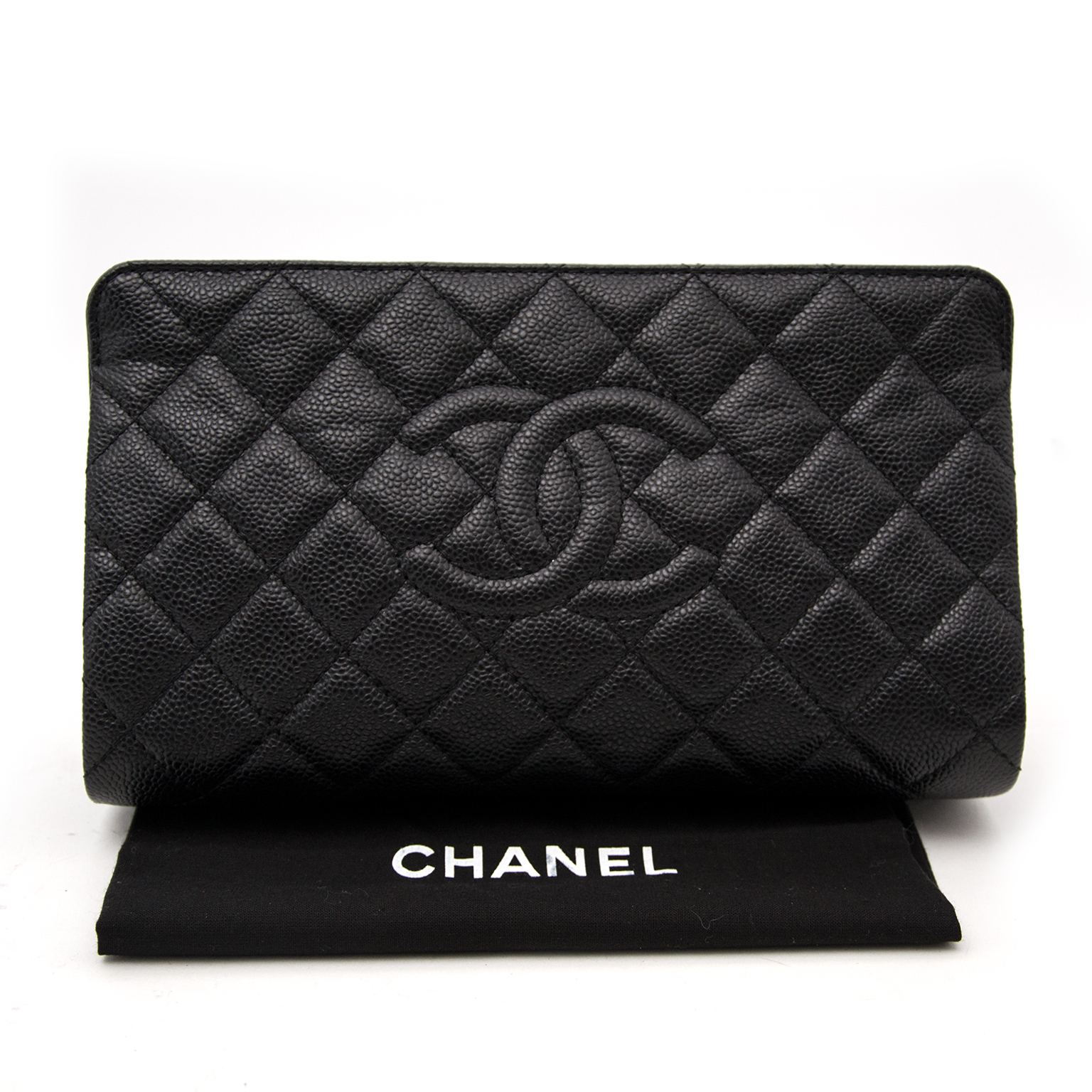 Authentic Chanel Black Caviar Quilted CC Clutch Bag at the best price 2017