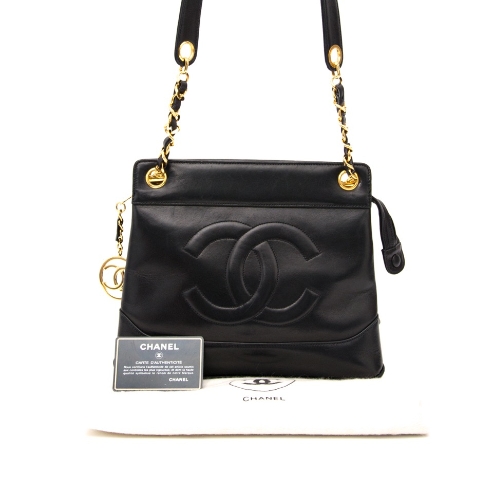 fcfff6e4290a ... Buy and sell your designer Chanel Lambskin Black CC Tote for the best  price online