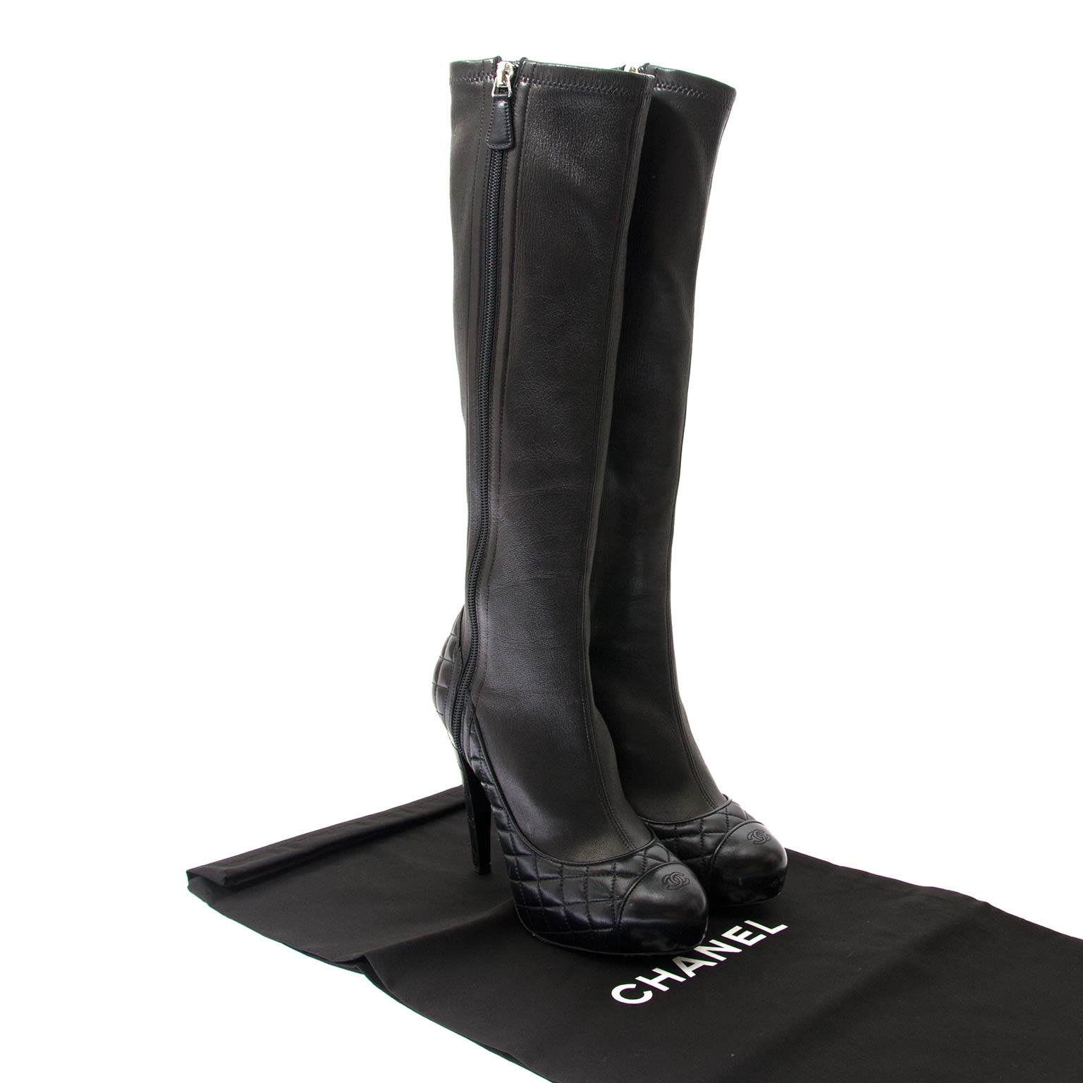 chanel black leather quilted boots now for sale at labellov vintage fashion webshop belgium