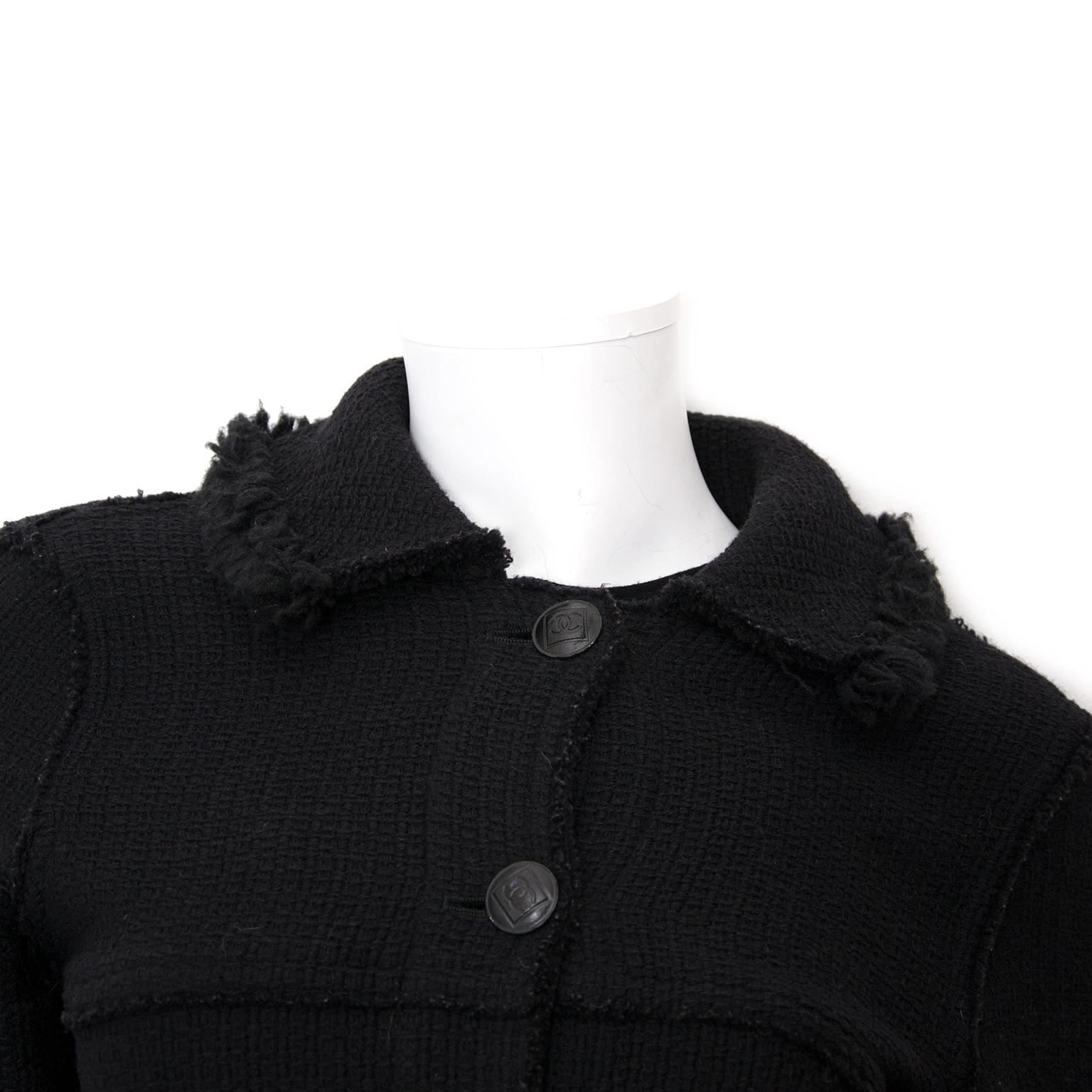 Chanel Black Woolen Blazer - Size 36 now online at labellov.com at the best price.