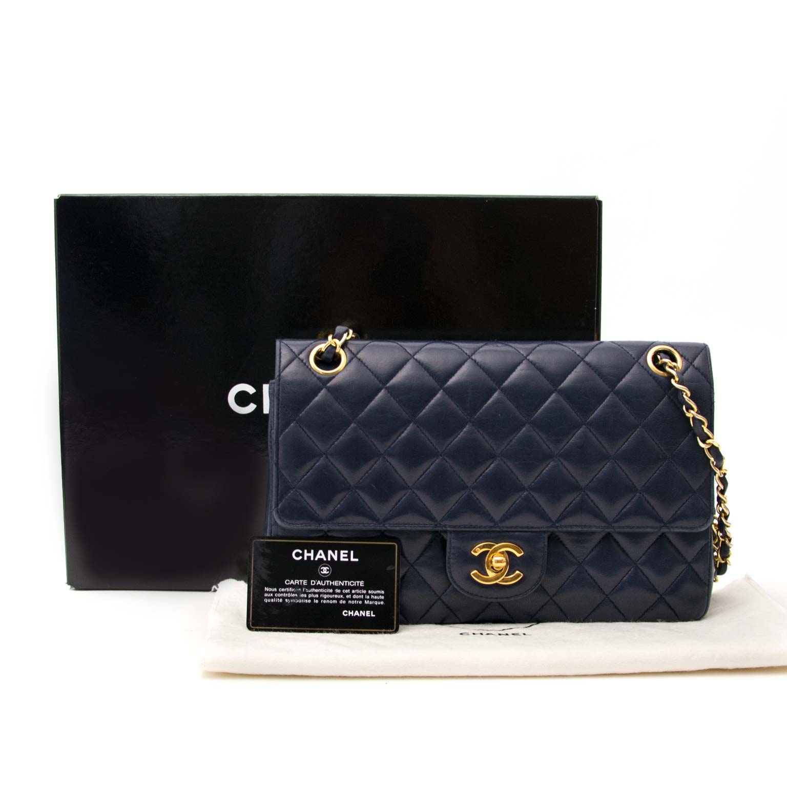 buy safe and secure online at labellov.com in antwerp chanel vintage blue leather classic flap bag