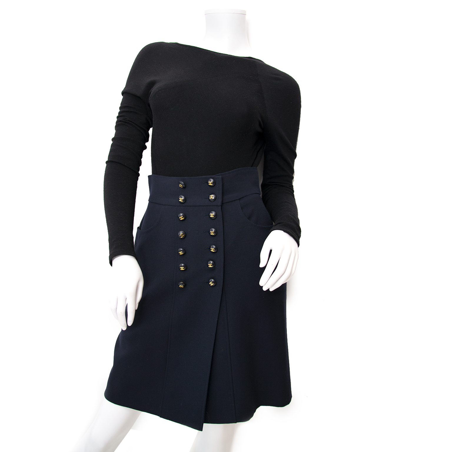 Chanel Navy Blue Skirt double row gold cc buttons now online at labellov.com for the best price