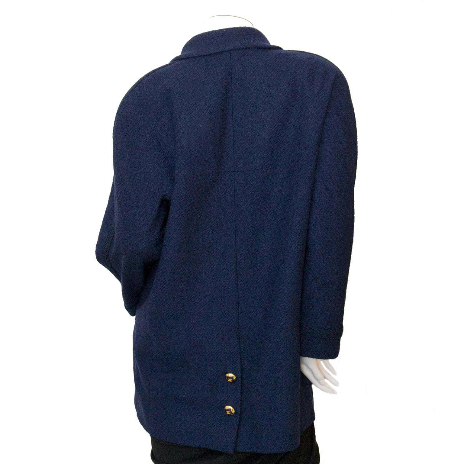 buy Chanel Dark Blue Tweed Jacket - Size 40 at labellov for the best price