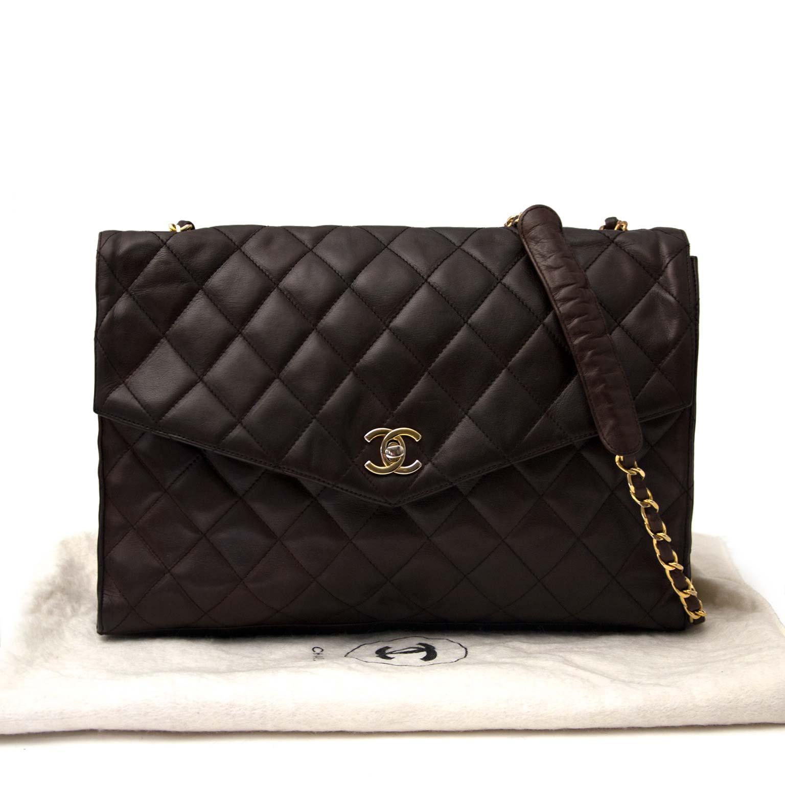 acheter en ligne pour le meilleur prix Chanel Vintage Brown Lambskin Shoulder Bag