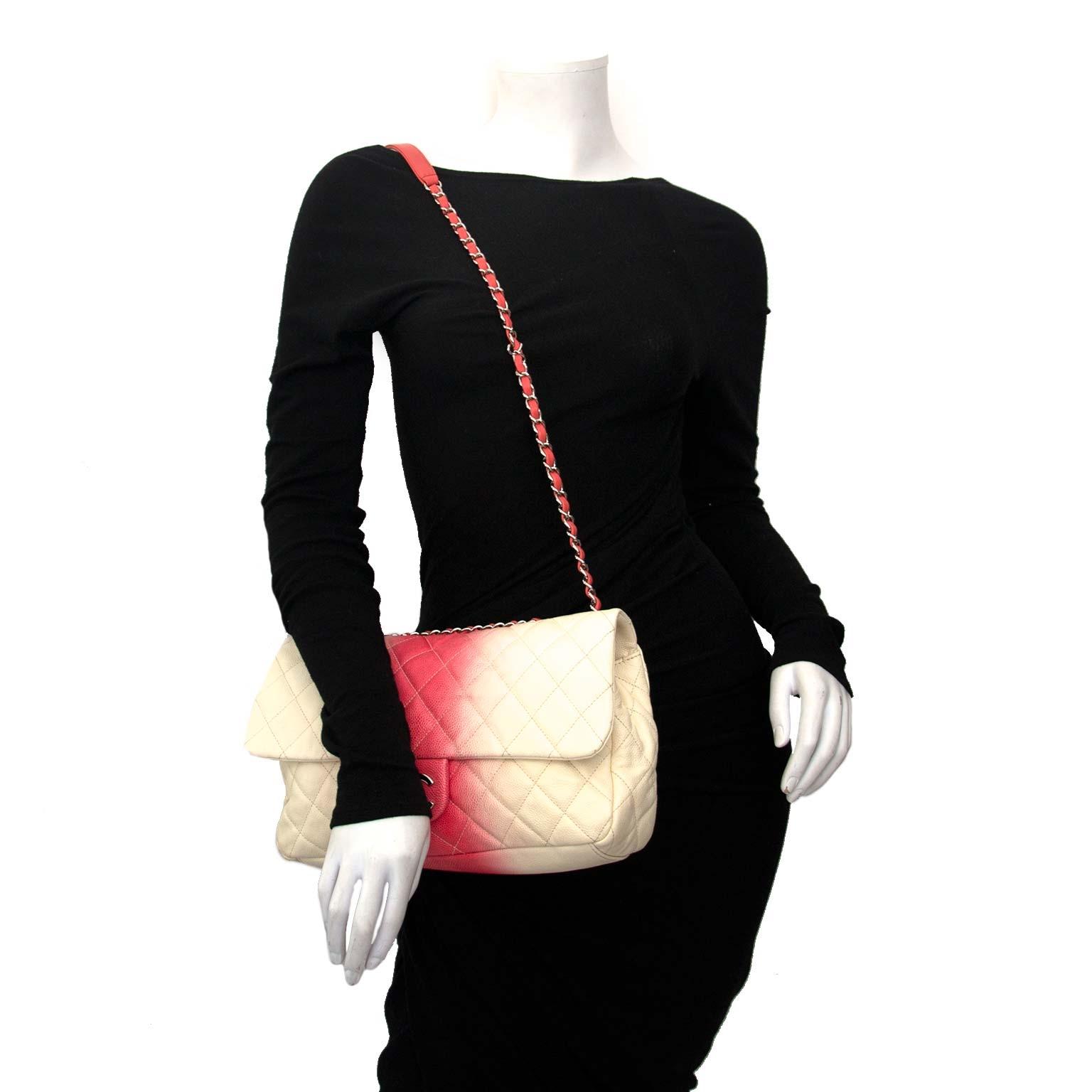 Chanel Caviar Ombre White Rose Jumbo Single Flap Bag acheter en linge pour le meilleur prix