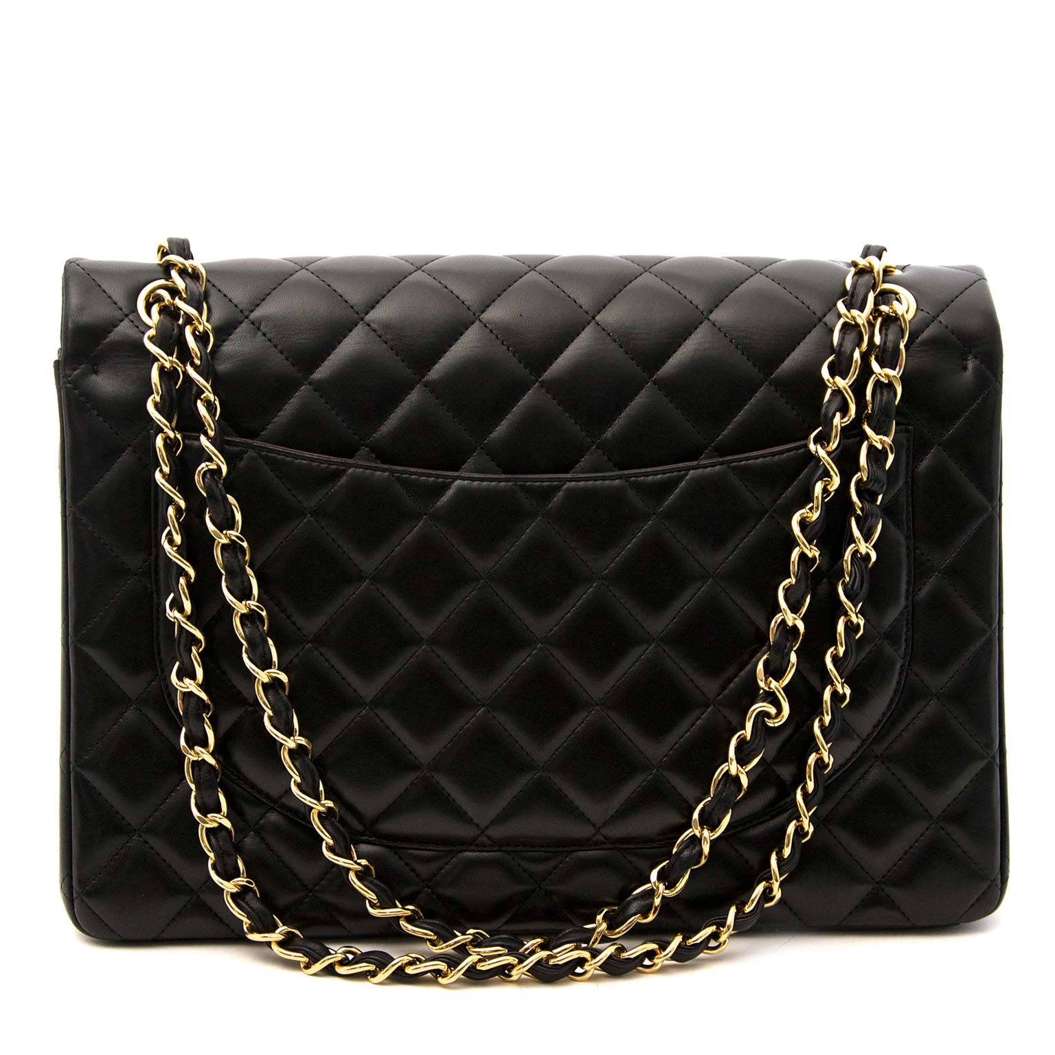 Koop uw authentieke Chanel Black Lambskin Leather Maxi Classic Flap Bag GHW