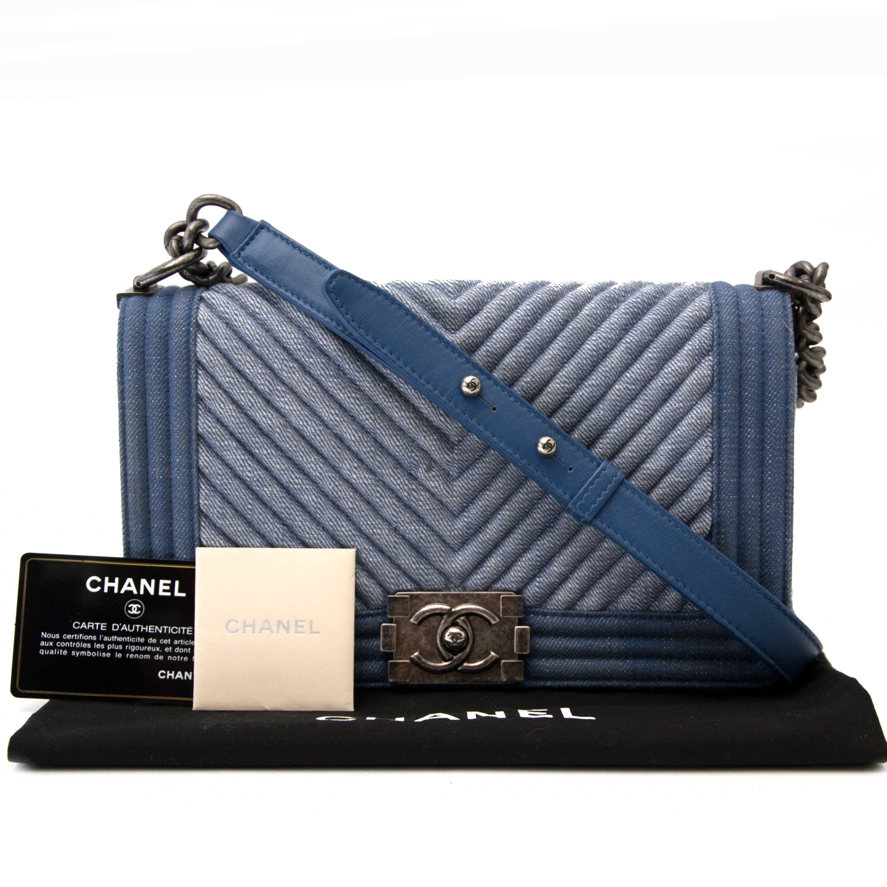 a5006172064e78 Labellov Chanel Medium Denim Chevron Boy Bag ○ Buy and Sell ...