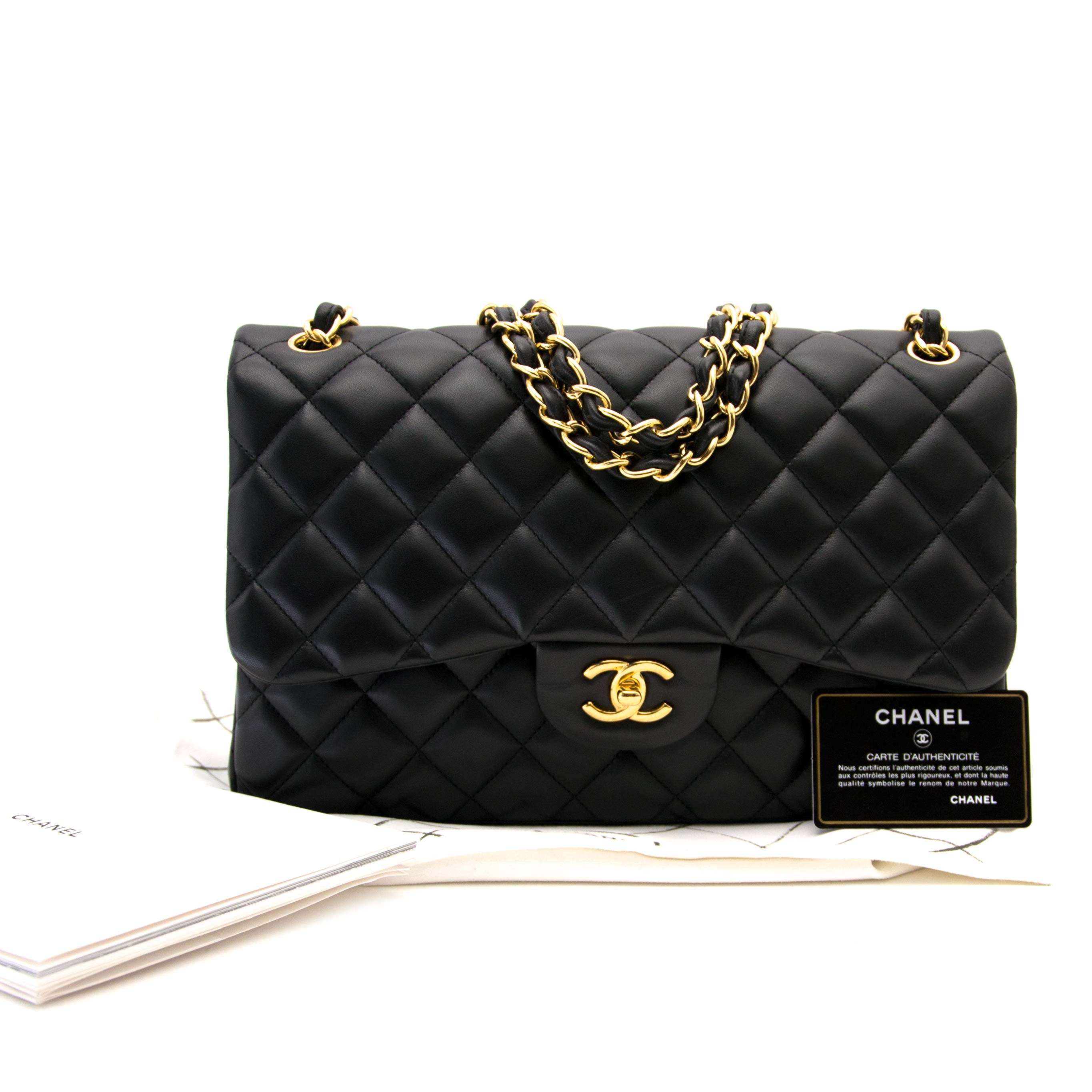 shop online at the best price your secondhand Chanel Black Lambskin Classic Double Flap Bag