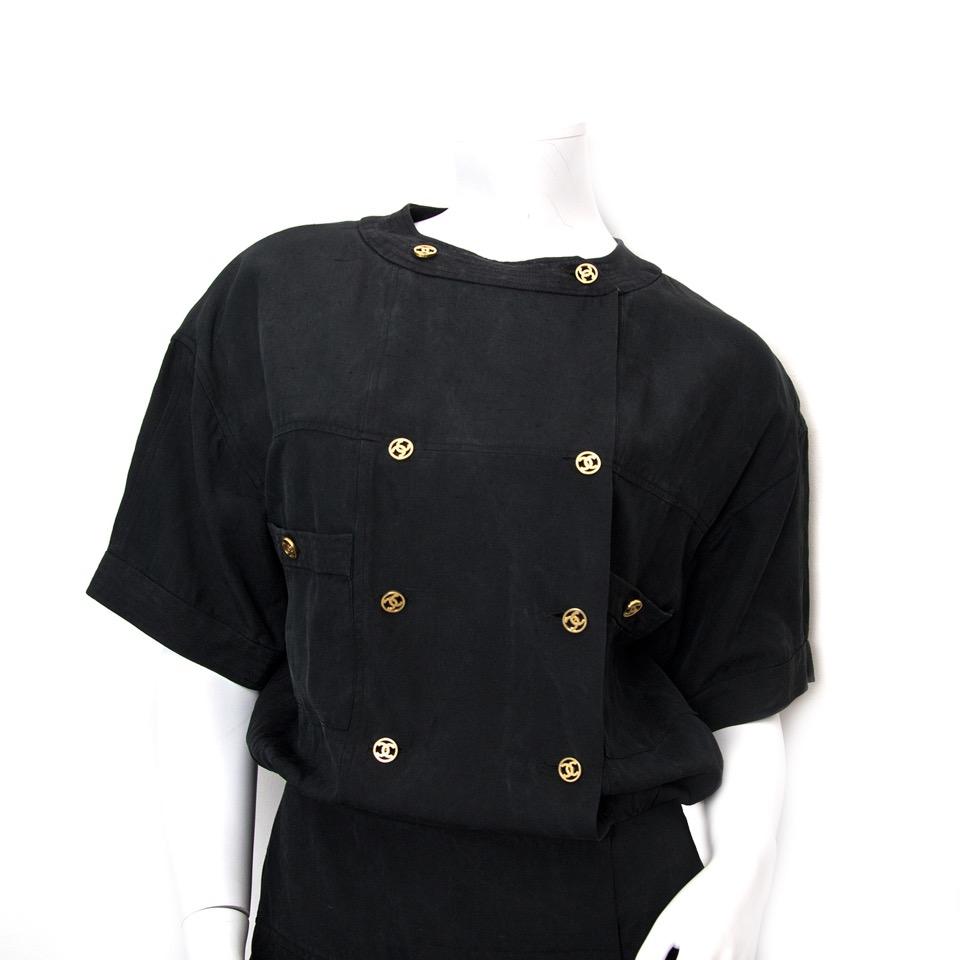 koop veilig online aan de beste prijs Chanel Black Linen Dress webshop labellov.Com