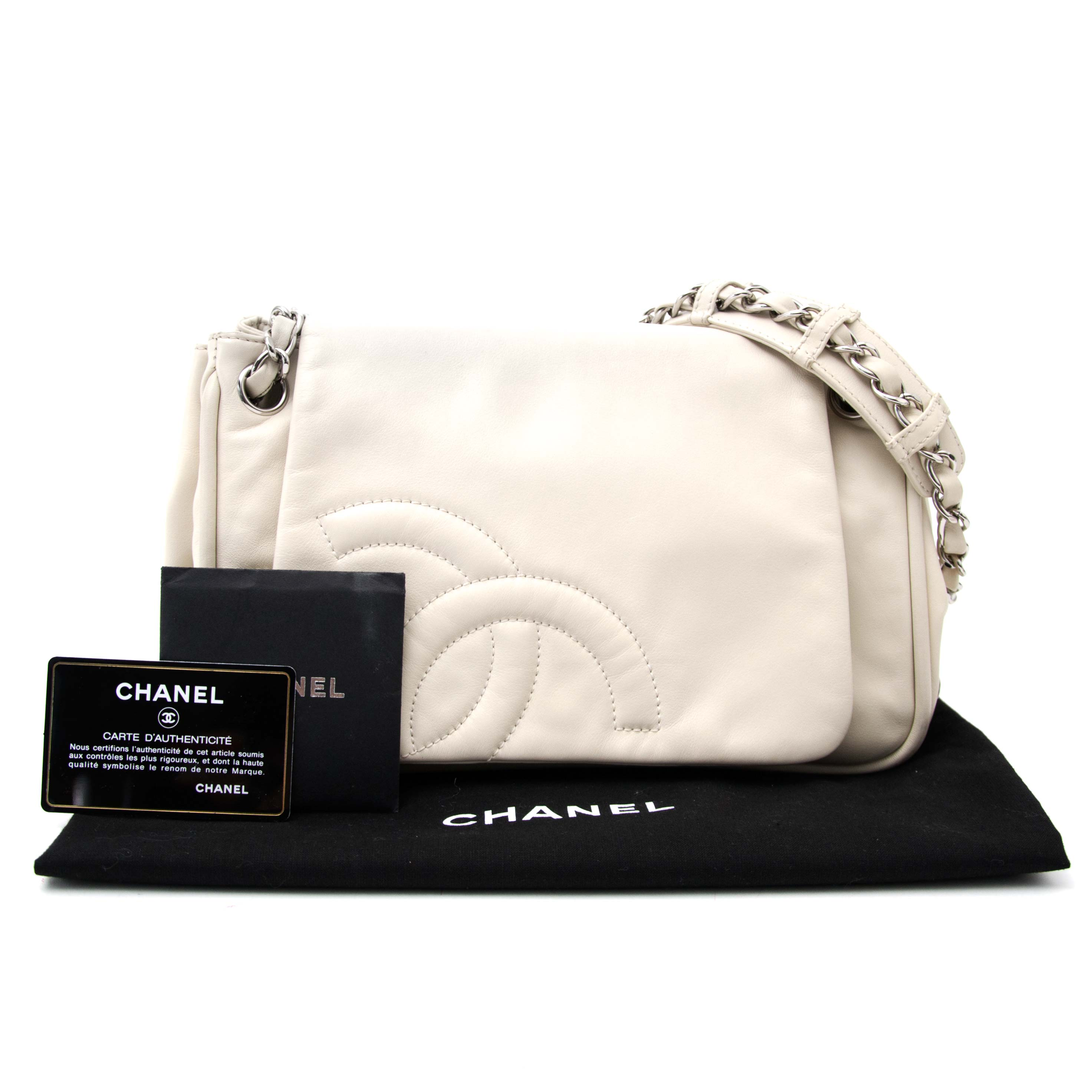We buy and sell your secondhand luxury handbags and accessories Chanel Accordion Cream Flap Bag