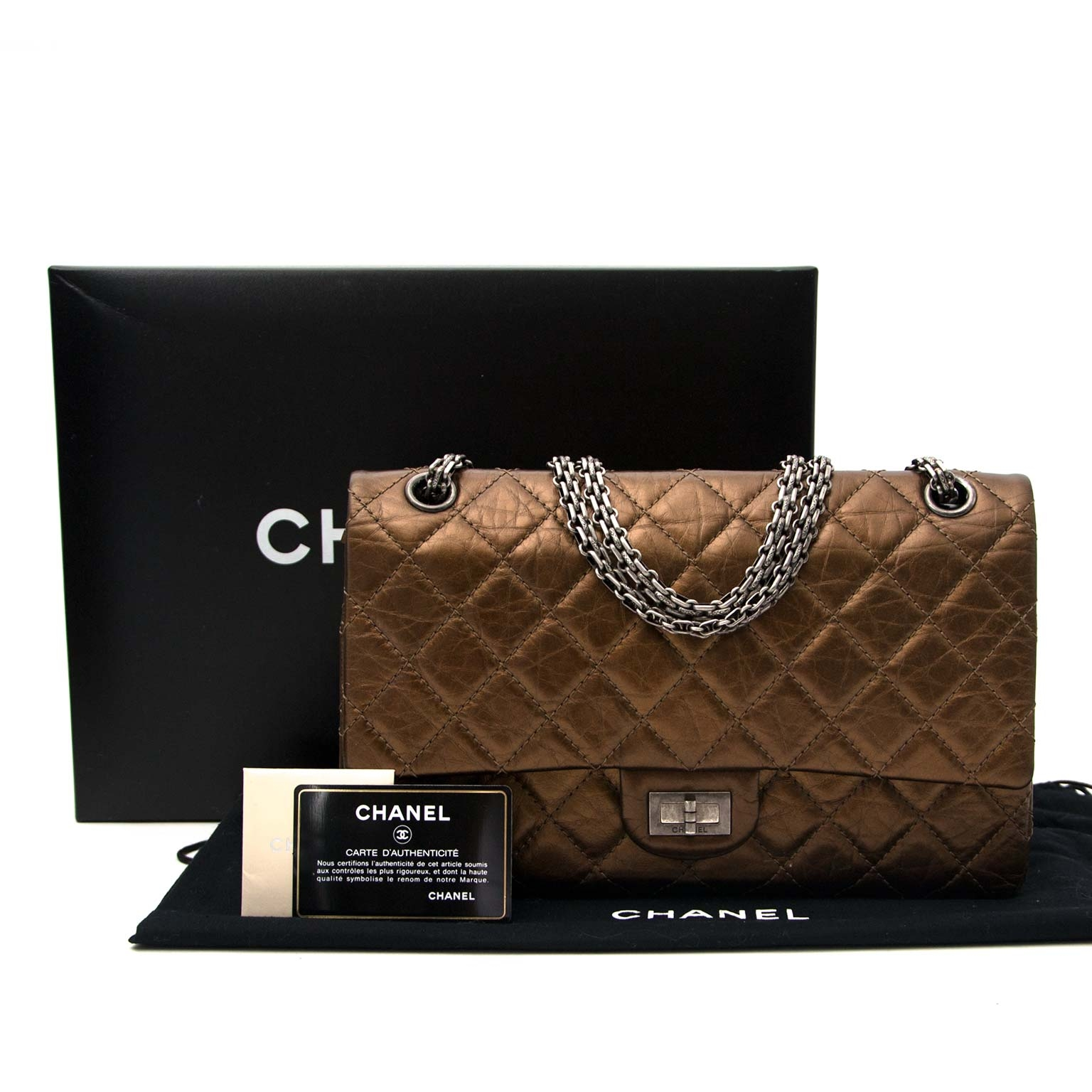 shop safe online Chanel Bronze Aged Calfskin 2.55 Reissue -226