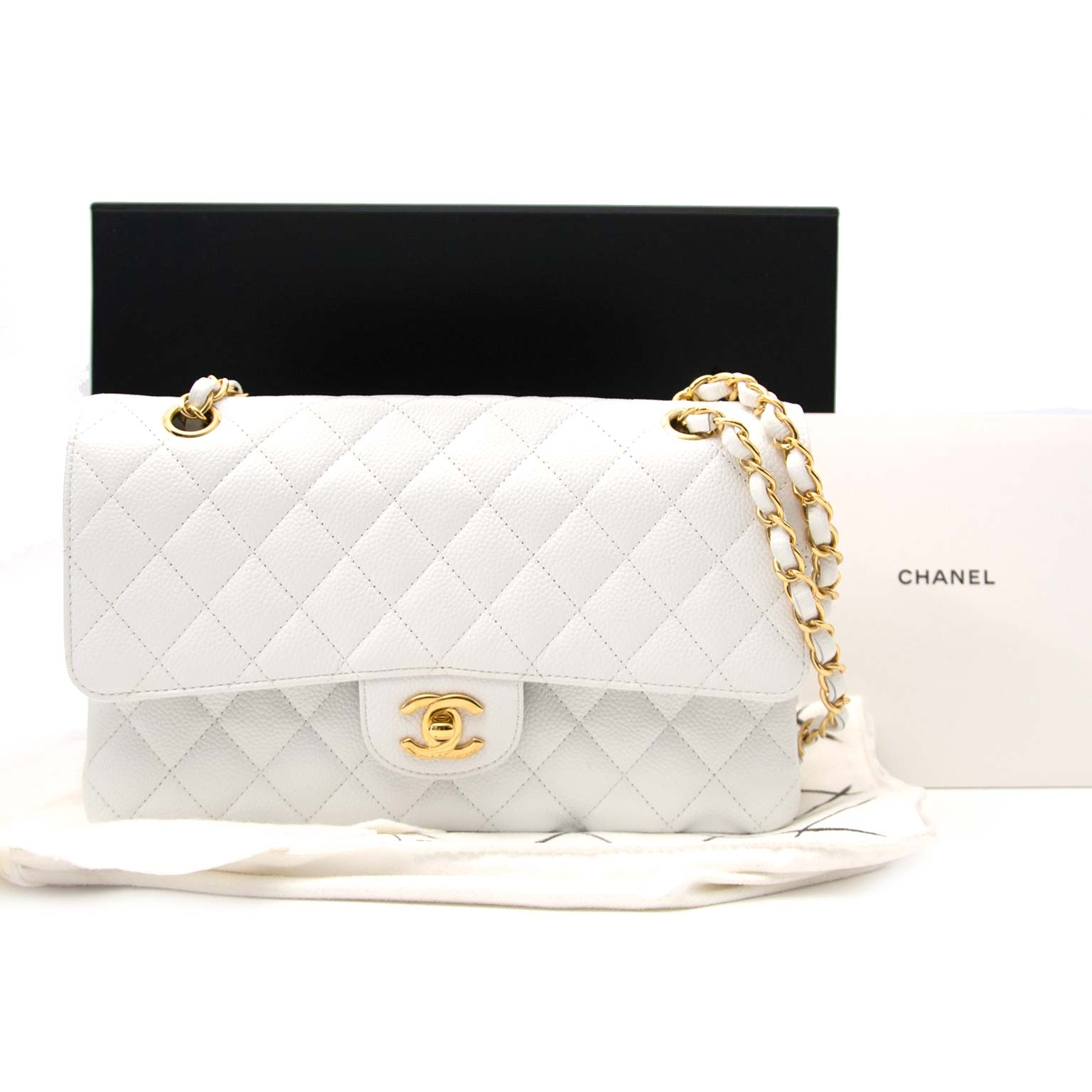 acheter en ligne seconde main Chanel White Caviar Leather Double Flap Bag