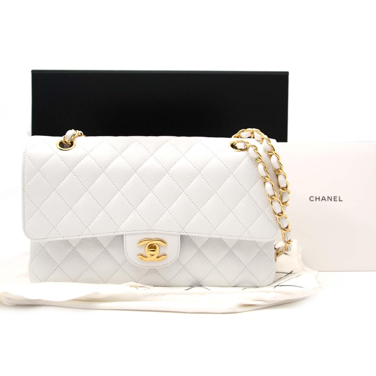 89ff392bb8a88e shop safe online Chanel White Caviar Leather Double Flap Bag acheter en  ligne seconde main Chanel White Caviar Leather Double Flap Bag