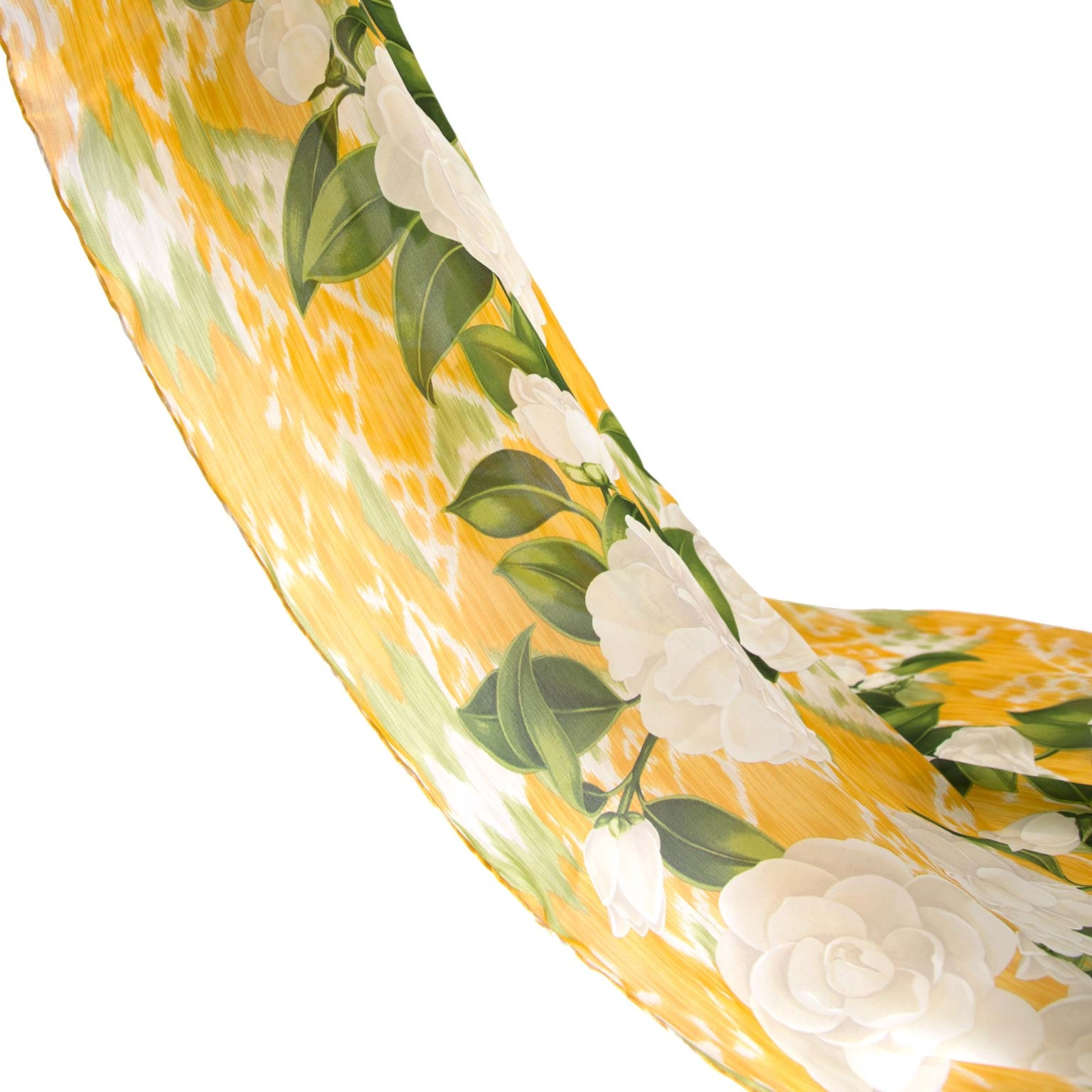Chanel Yellow & Green Silk Scarf with White Flowers Buy authentic designer Chanel secondhand scarves at Labellov at the best price. Safe and secure shopping. Koop tweedehands authentieke Chanel sjaals bij designer webwinkel labellov.
