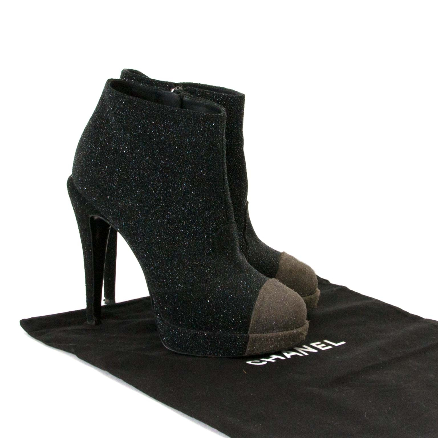 Chanel Black Sparkle Ankle Boots - size 36 now for sale at labellov vintage fashion webshop belgium