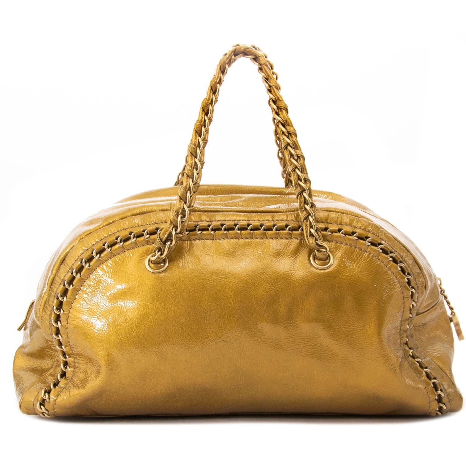 chanel gold patent leather bowling bag now for sale at labellov vintage fashion webshop belgium