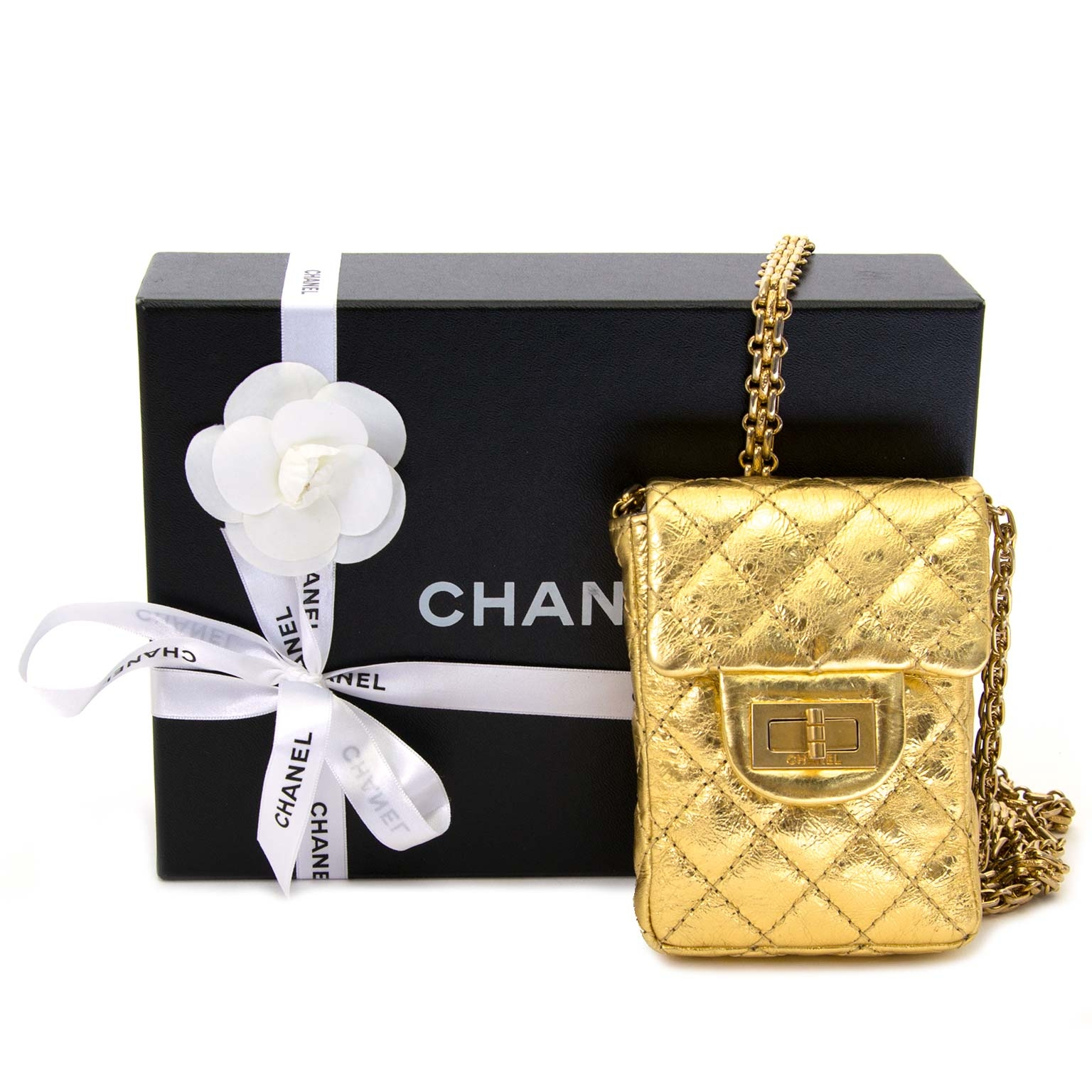 b1cd710b706 ... Chanel 2.55 Reissue Aged Calfskin Gold Phone Pouch for the best price  at Labellov secondhand luxury