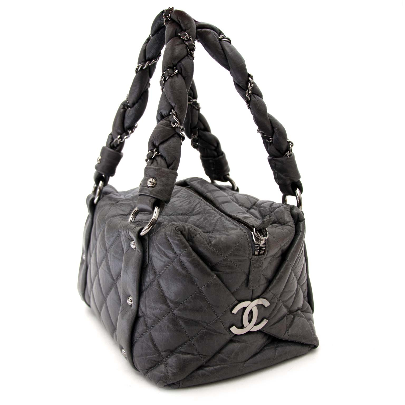 Chanel Grey Distressed Leather Lady Braid Small Tote Bag koop veilig online jou tweedehands handtas