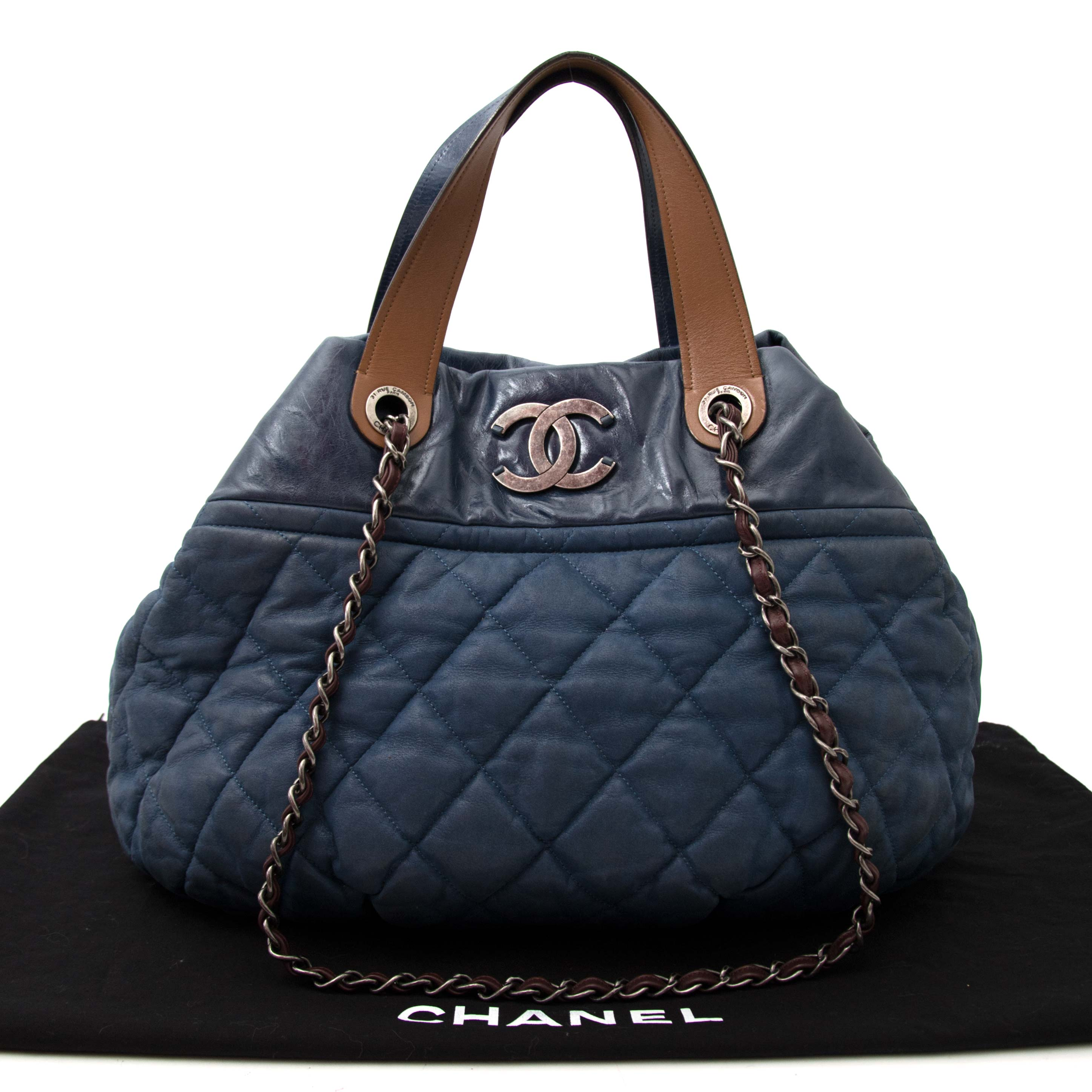 a00078a6820e ... le meilleur prix koop online aan de beste prijs Chanel  In The Mix   Jeans Blue Large Tote