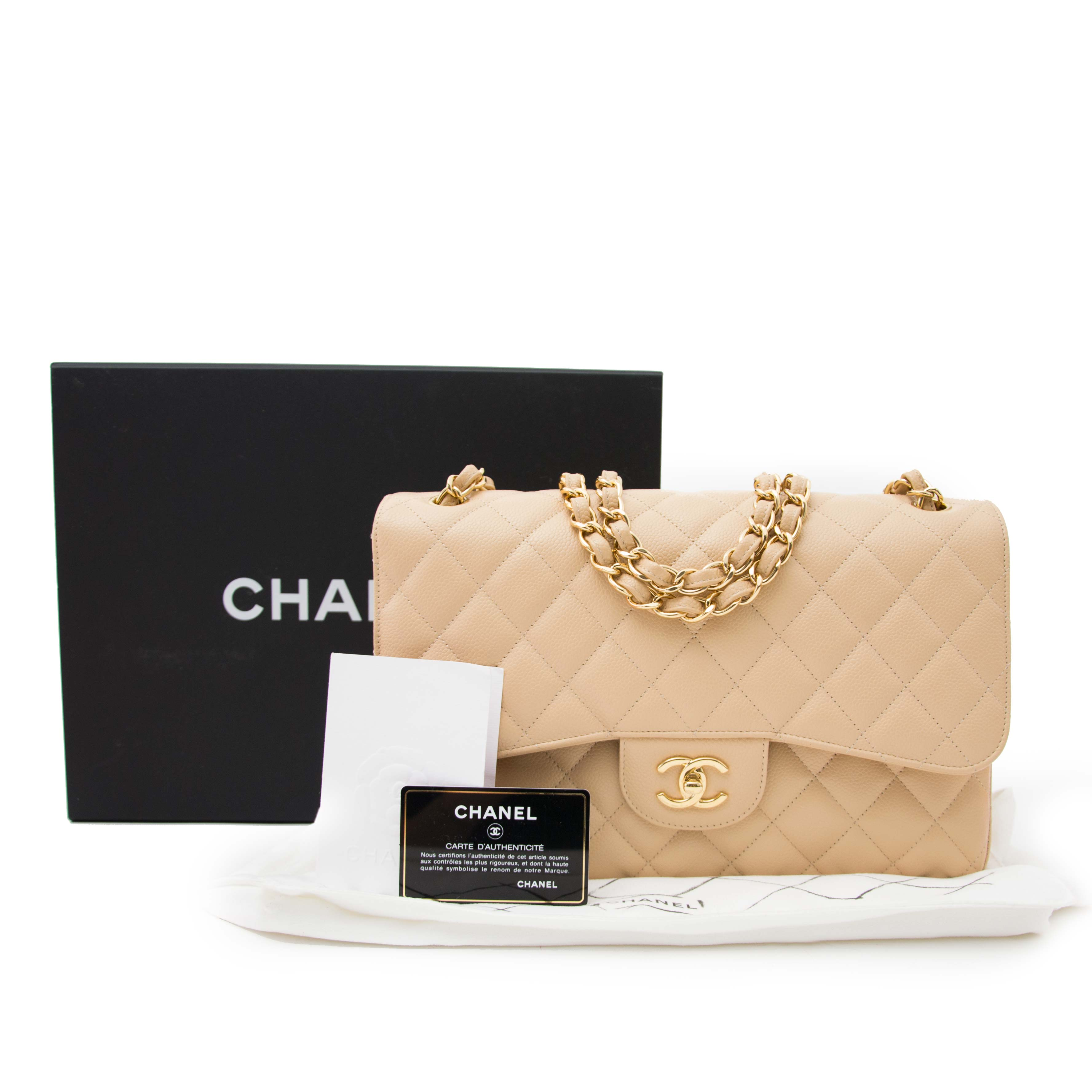 59704a0fe2e5e5 ... Bent u op zoek naar een authentieke Chanel Classic Flap Bag Jumbo  handtas met gouden ketting