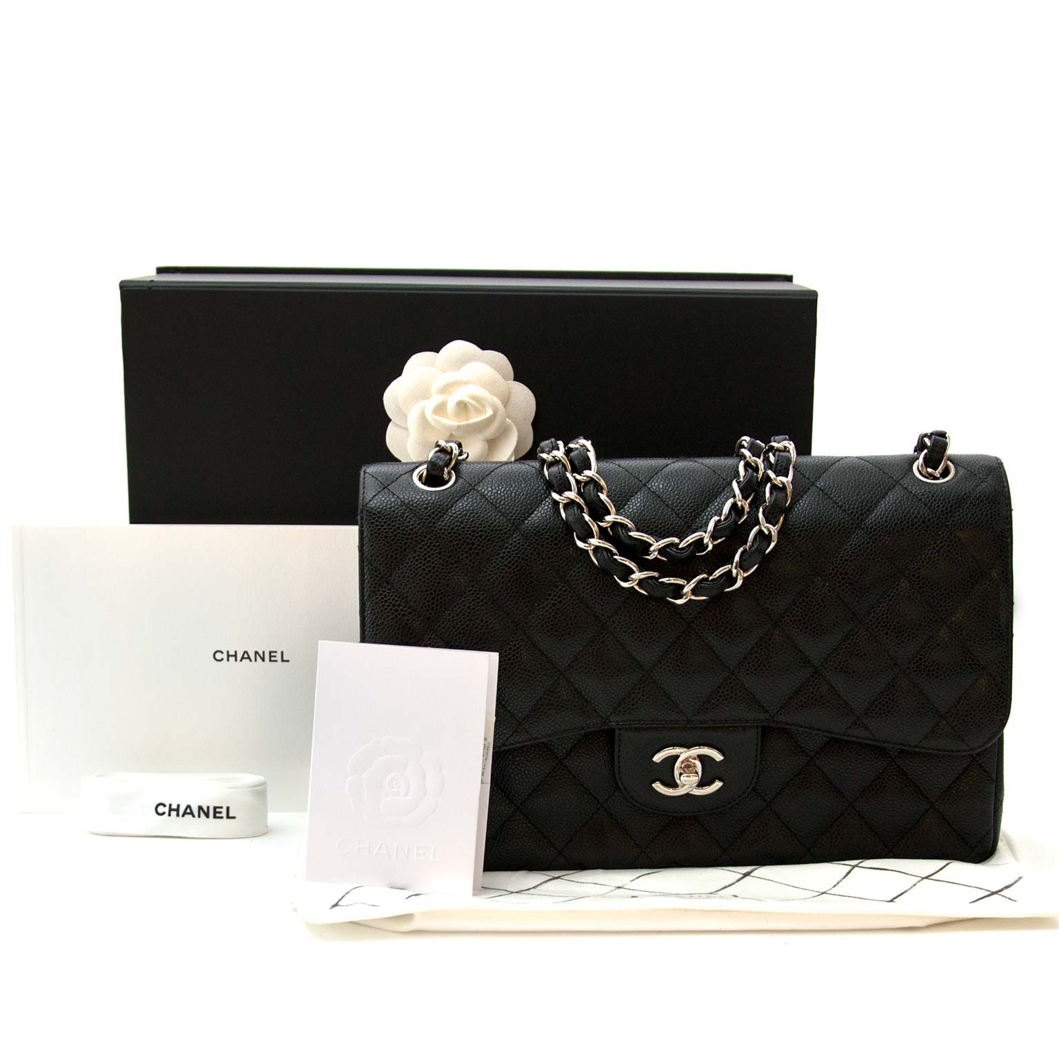 ead4caefb57 Chanel Classic Flap Bag Jumbo Black Caviar Leather for sale online at  Labellov secondhand luxury Koop en verkoop uw authentieke designer  handtassen aan de ...