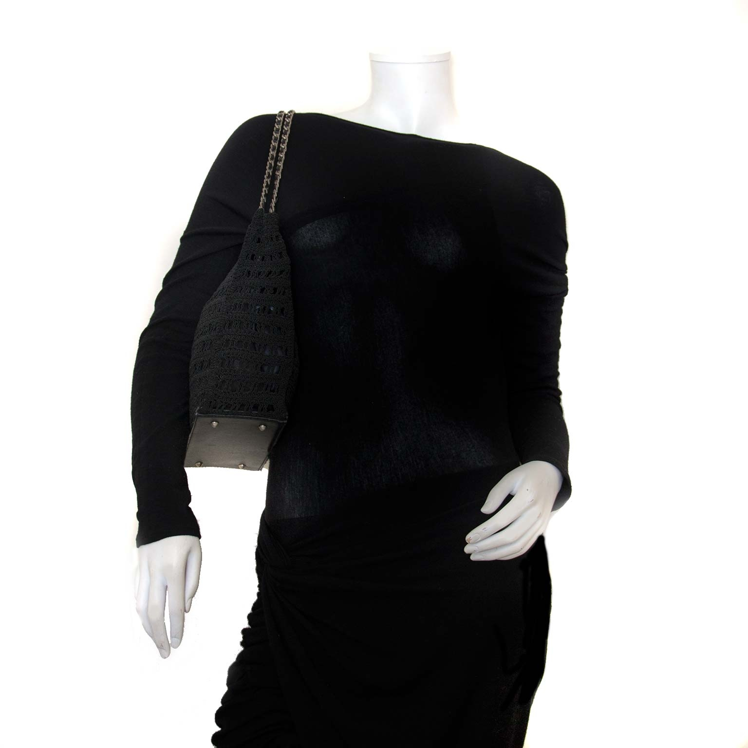 chanel vintage knit fabric shoulder bag now for sale at labellov vintage fashion webshop belgium