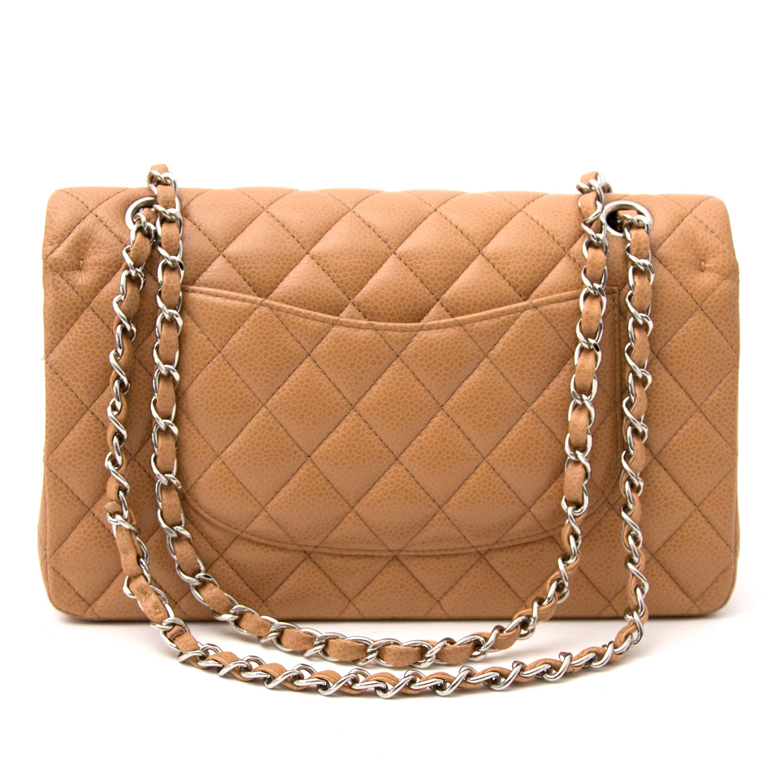 Chanel Beige Caviar Medium Classic Double Flap Bag  te koop