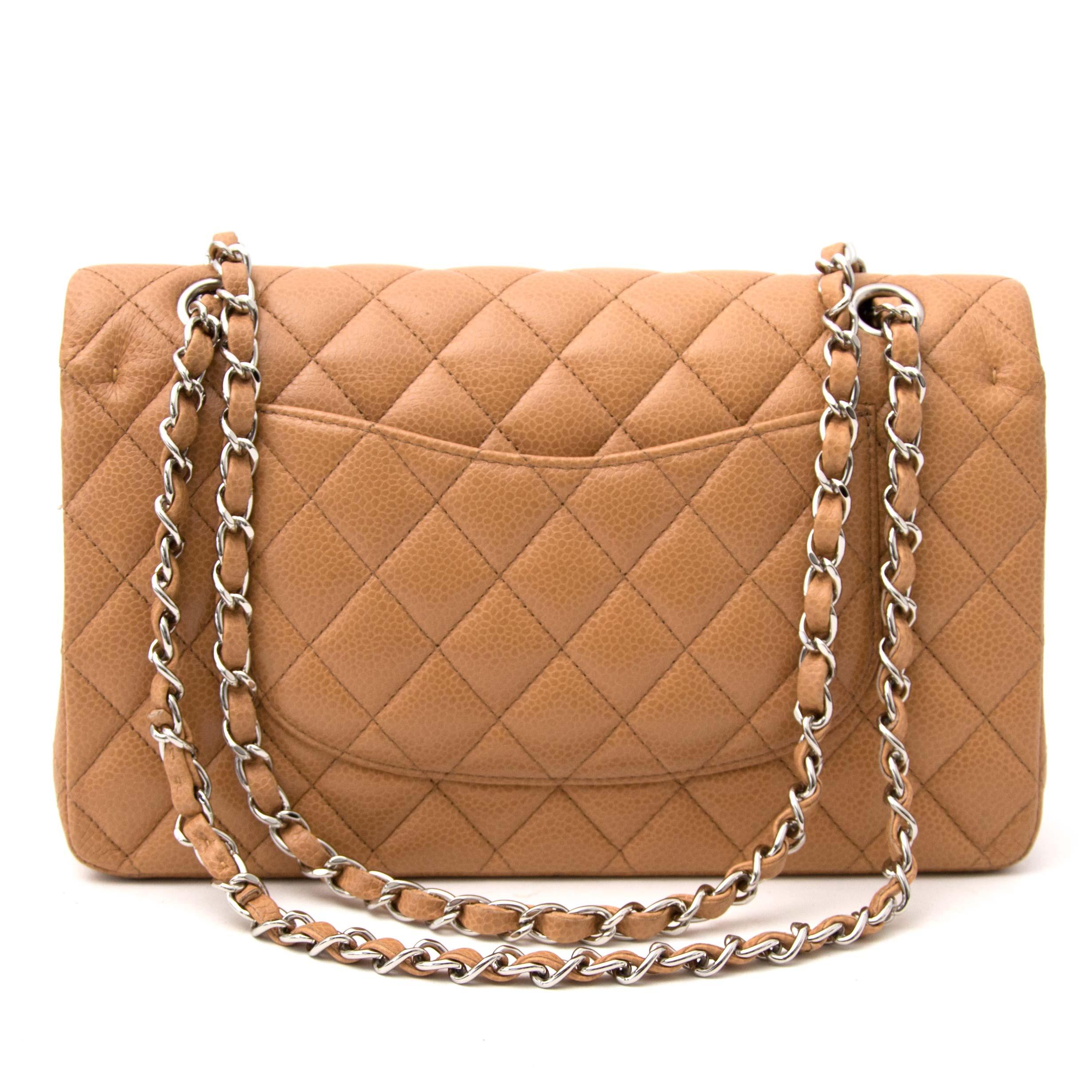 Chanel Beige Caviar Medium Classic Double Flap Bag  te koop