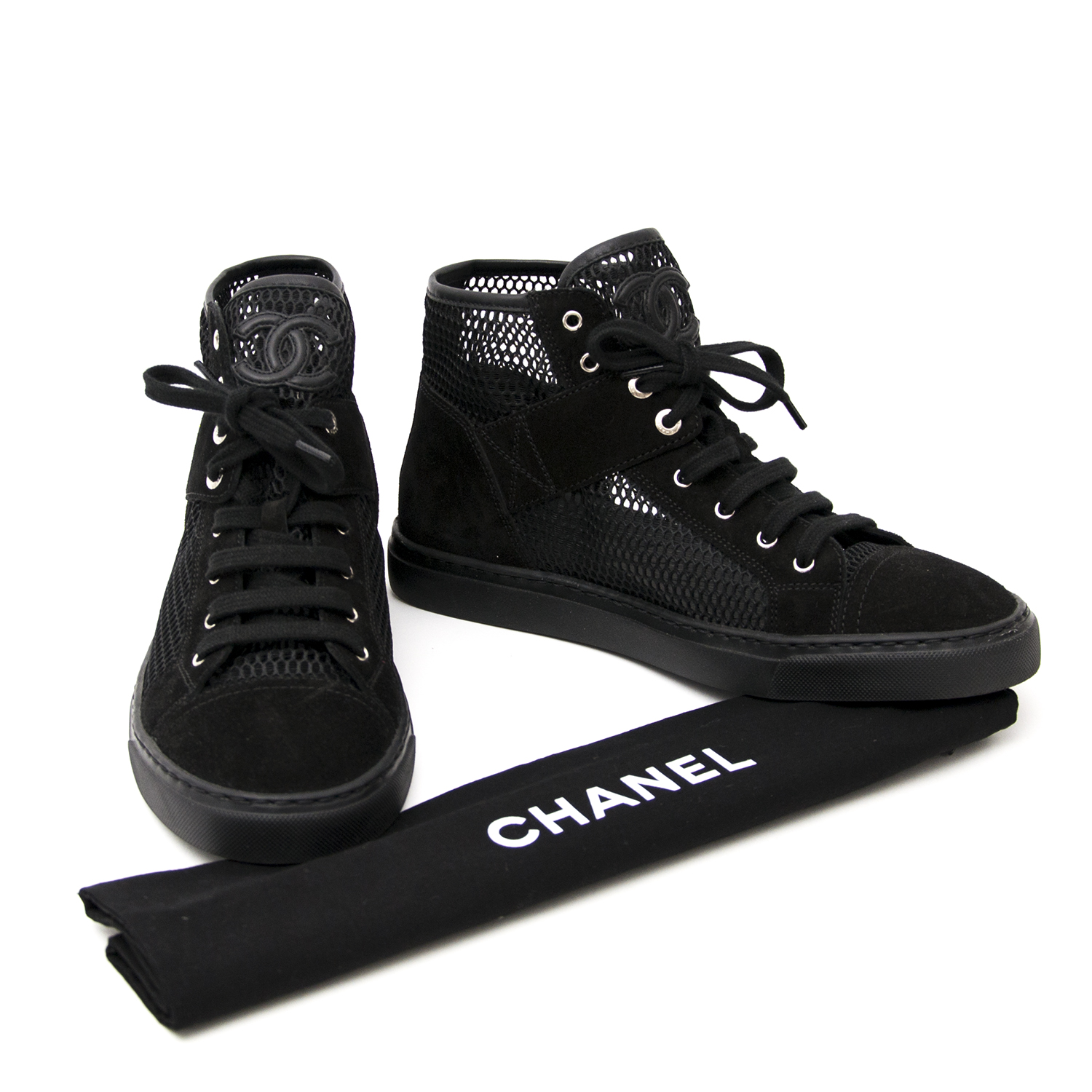 shop safe online your designer sneakers New Chanel Black Suede Mesh High-Top Lace-Up Sneakers